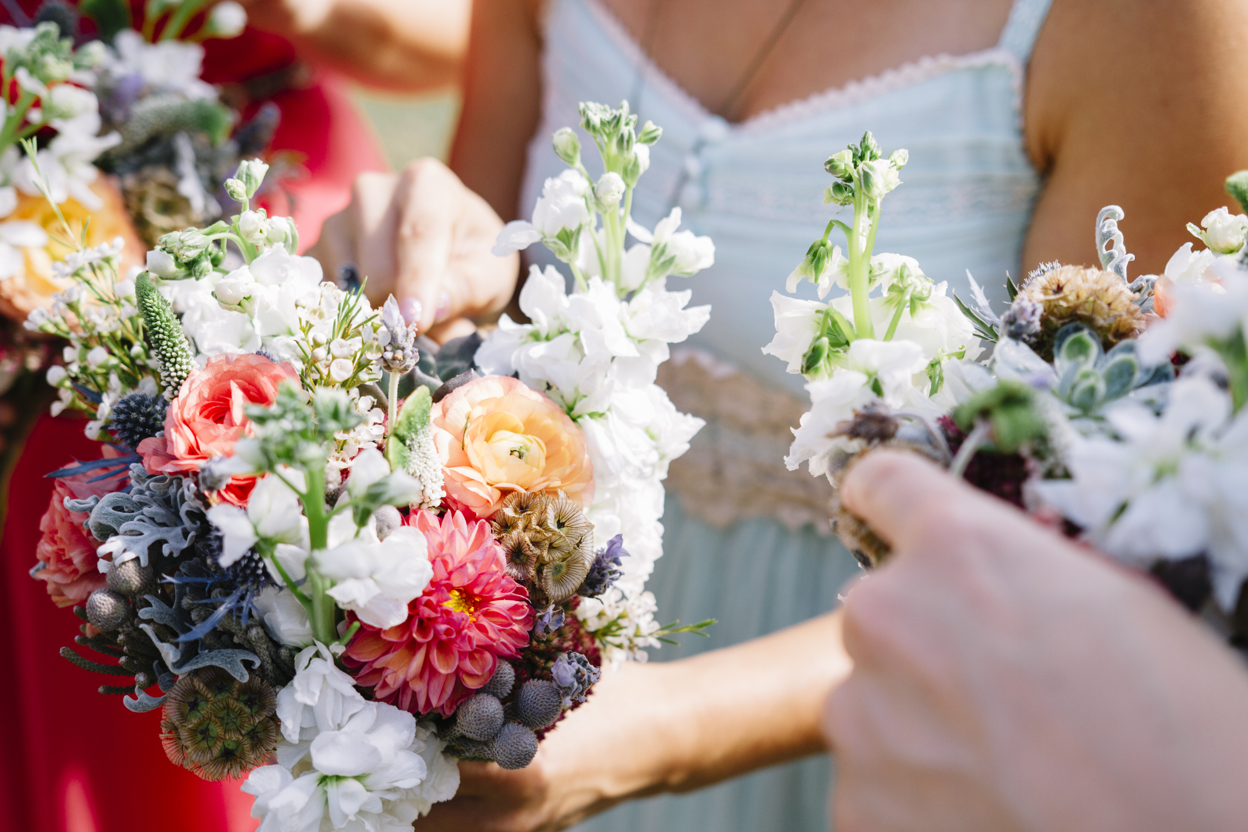 Coral, peach, lavender, and navy bridesmaid bouquets // Nashville Wedding Flowers