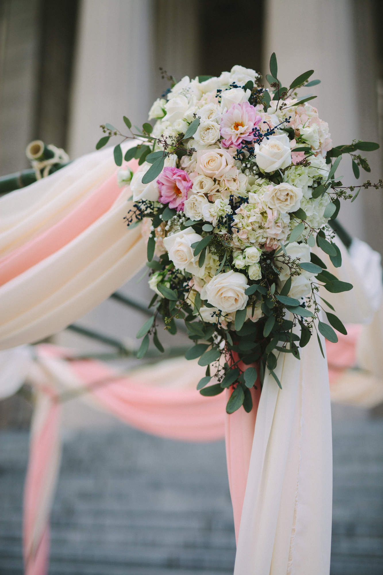 Blush chuppah floral arrangement // War Memorial, Nashville, TN Wedding