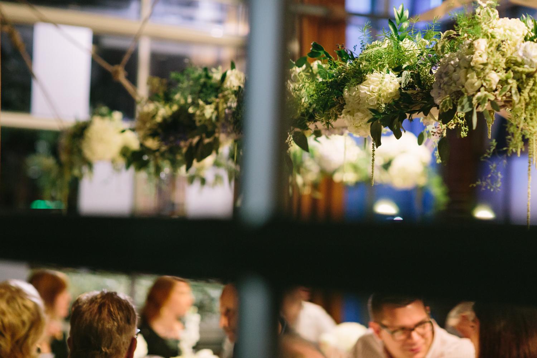 Hanging Flower Arrangement // Nashville Wedding Flowers // Sapphire at The Factory, Franklin, TN
