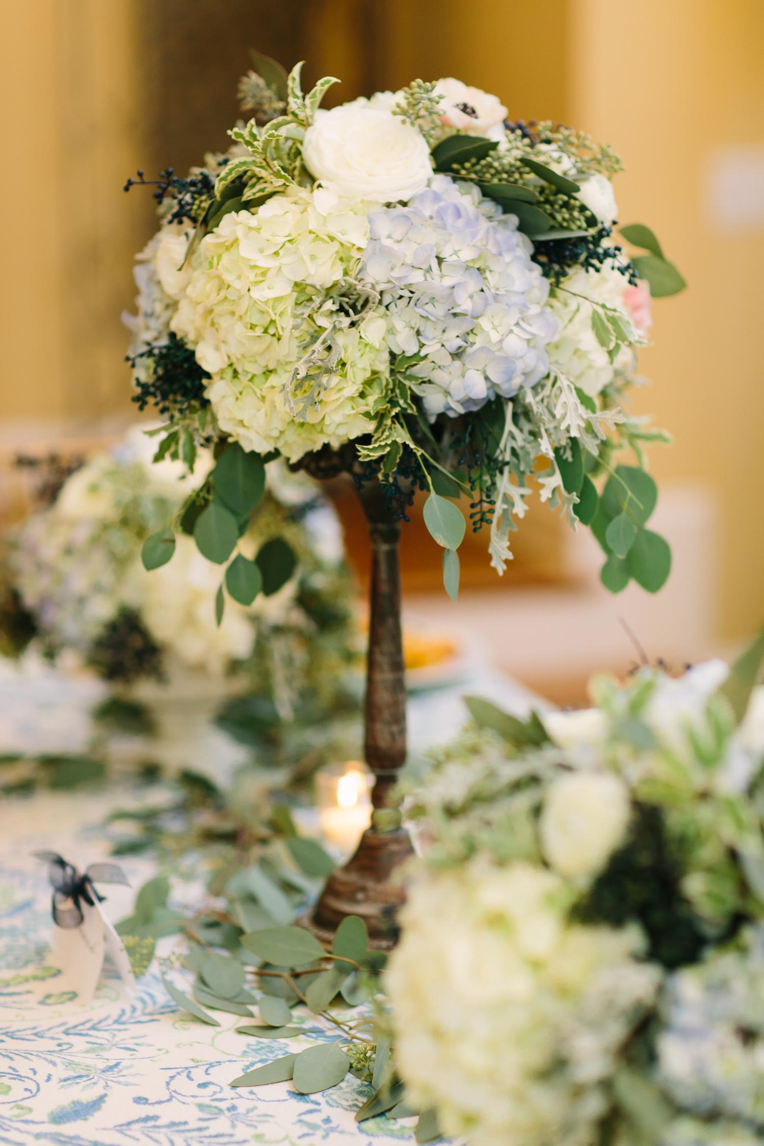 Blue hydrangea elevated flower centerpiece