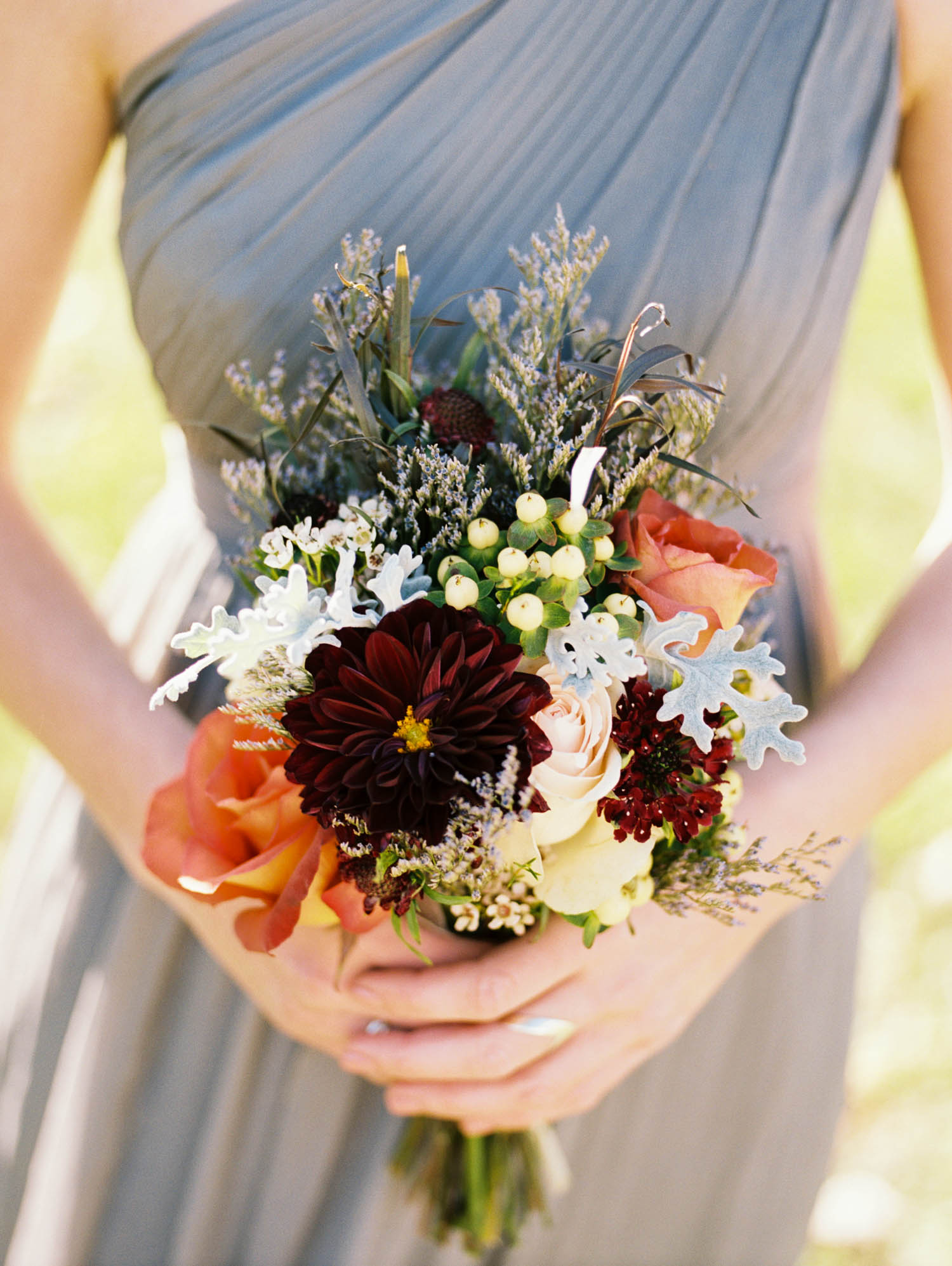 Rustic Fall Bouquet with Dahlias, Roses, and Hypericum Berries