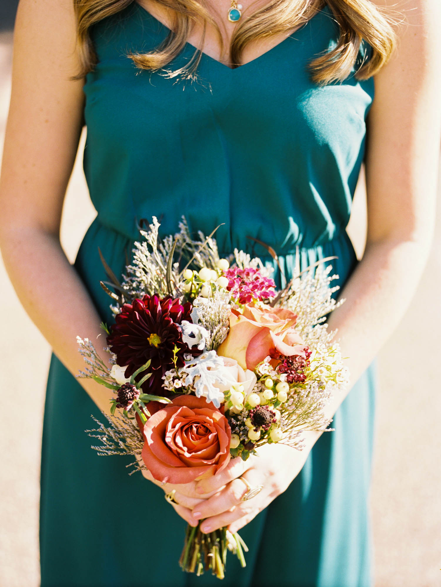 Autumnal Bouquet with burgundy, burnt orange, and mint