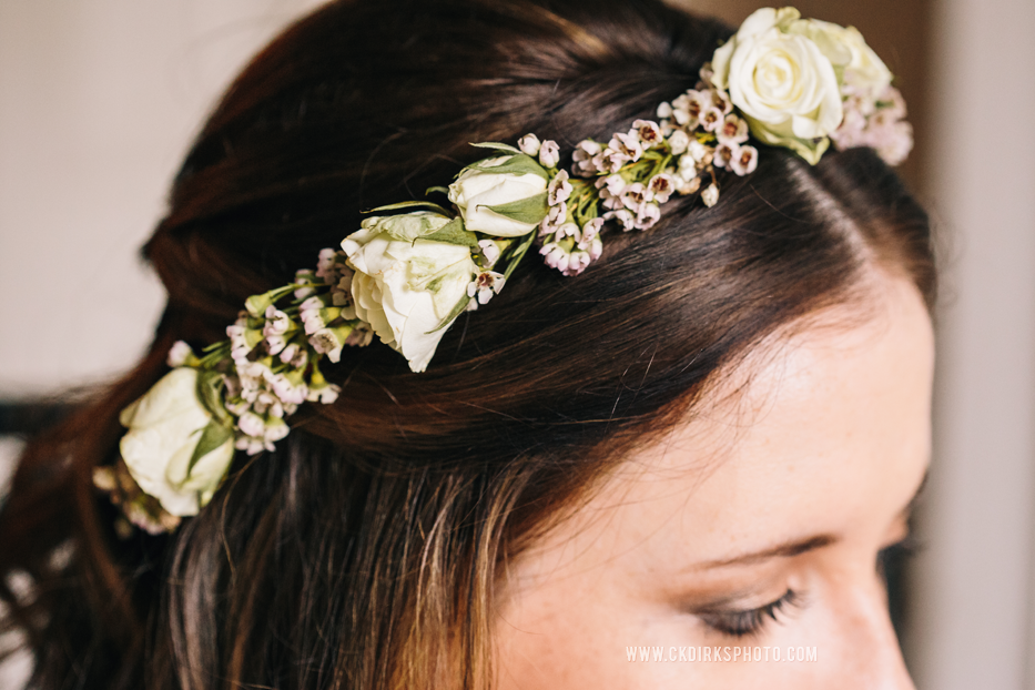 Spray rose and waxflower flower crown