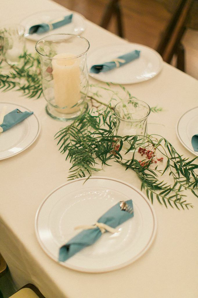 Greenery and berries table runner