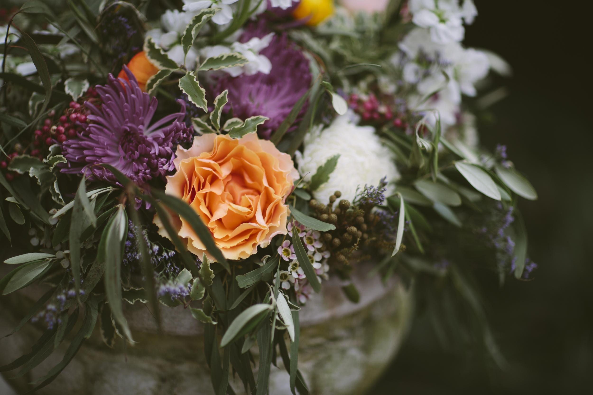 Peach Garden Roses, lavender mums, and lush greenery // Nashville Wedding Flowers