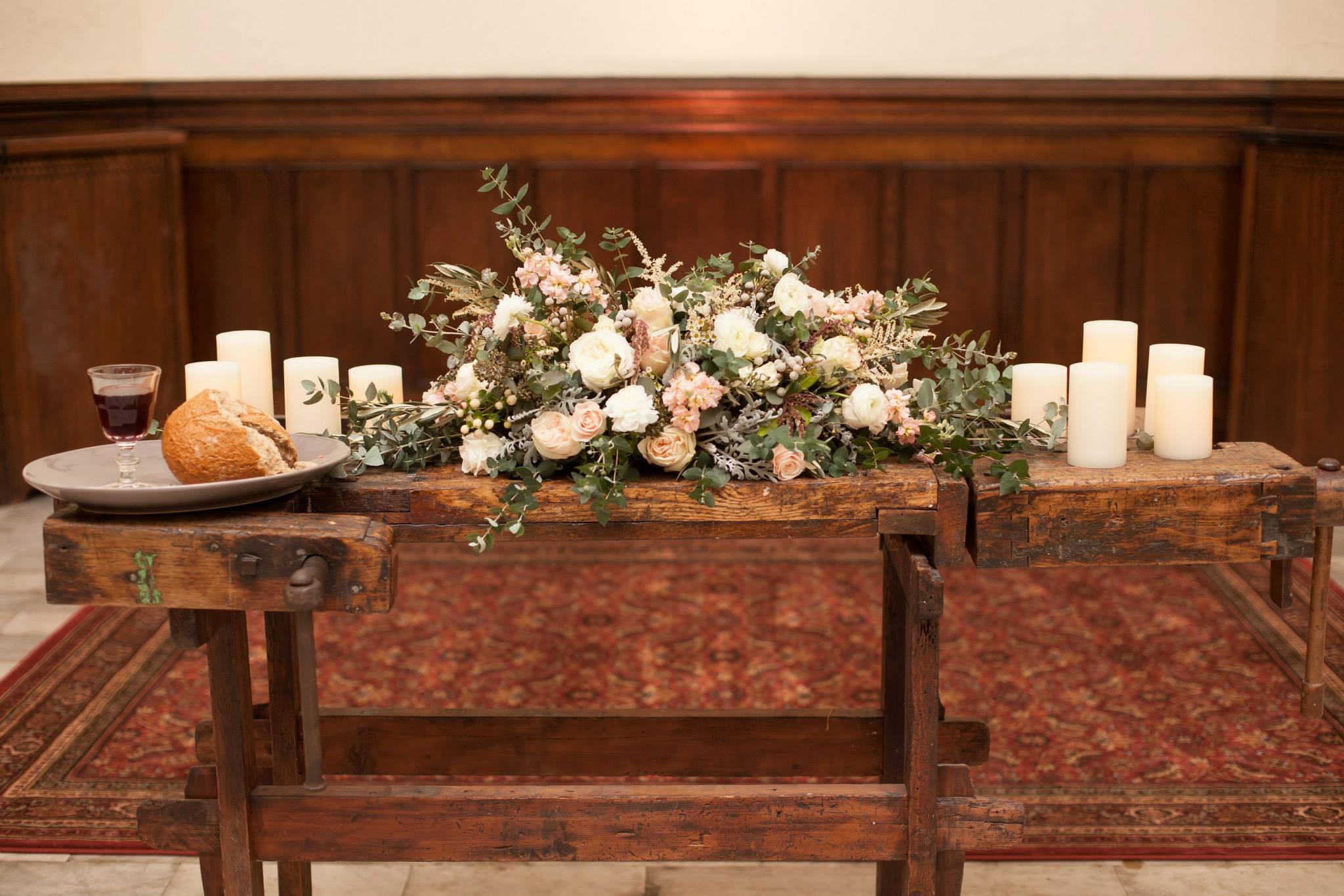 Nashville Wedding Floral Design // Altar arrangement at the Village Chapel