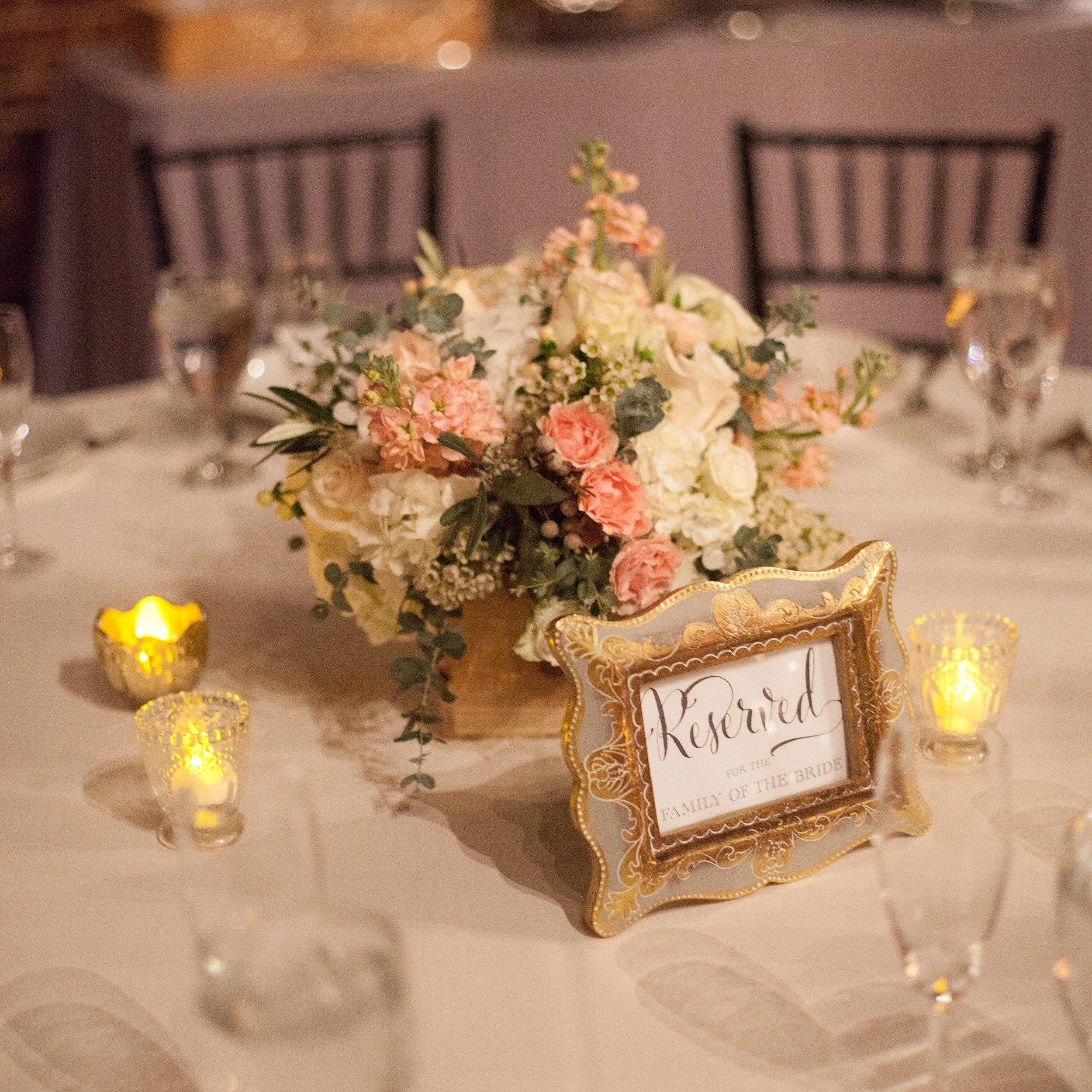 Blush and neutral centerpiece // Nashville Wedding Florist