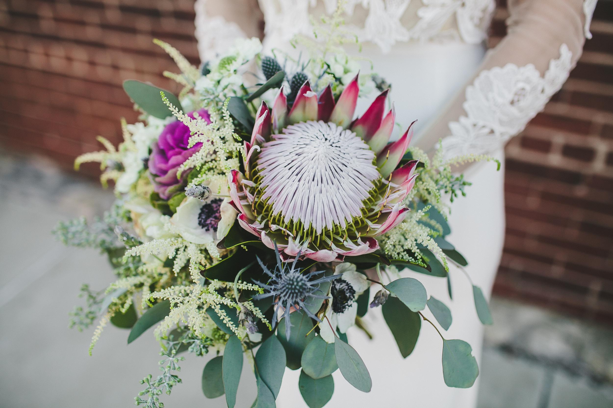 King Protea bride's bouquet // Nashville Wedding Floral Design