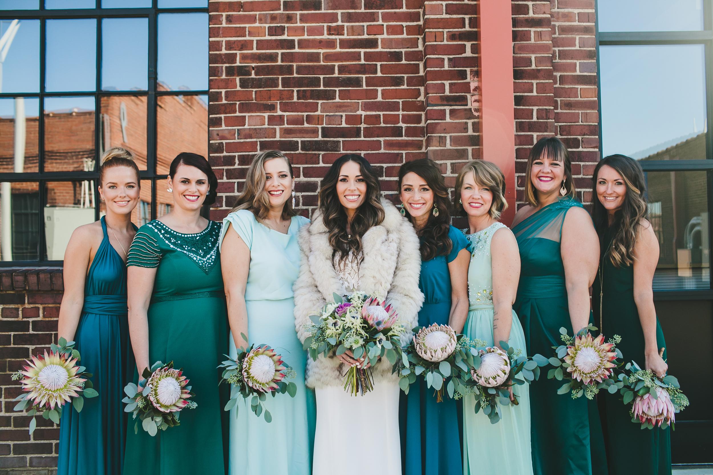 Teal and mint green bridesmaids dress //  Nashville Wedding Florist