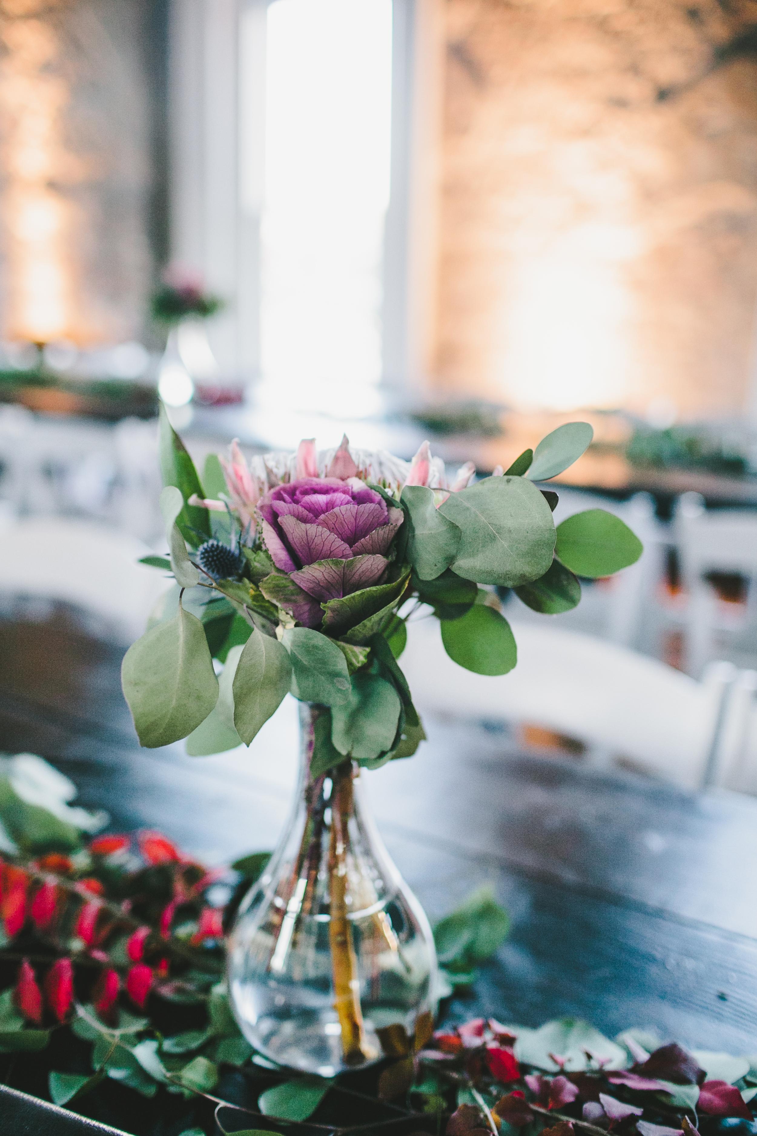 King Protea centerpiece and eucalyptus garland // Nashville Wedding Florist