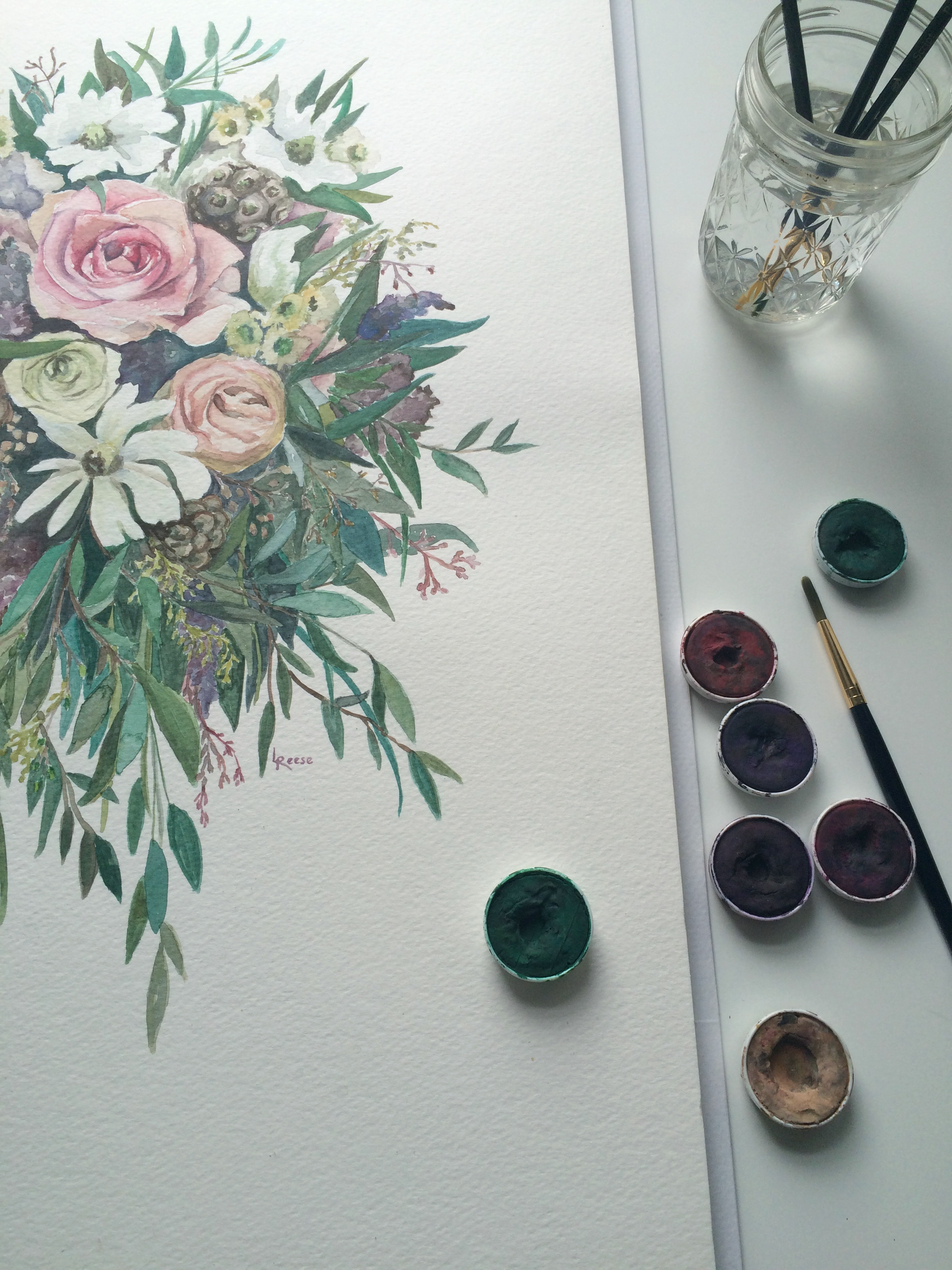 Watercolor Painting // Bridal Bouquet // Nashville Wedding Floral Design