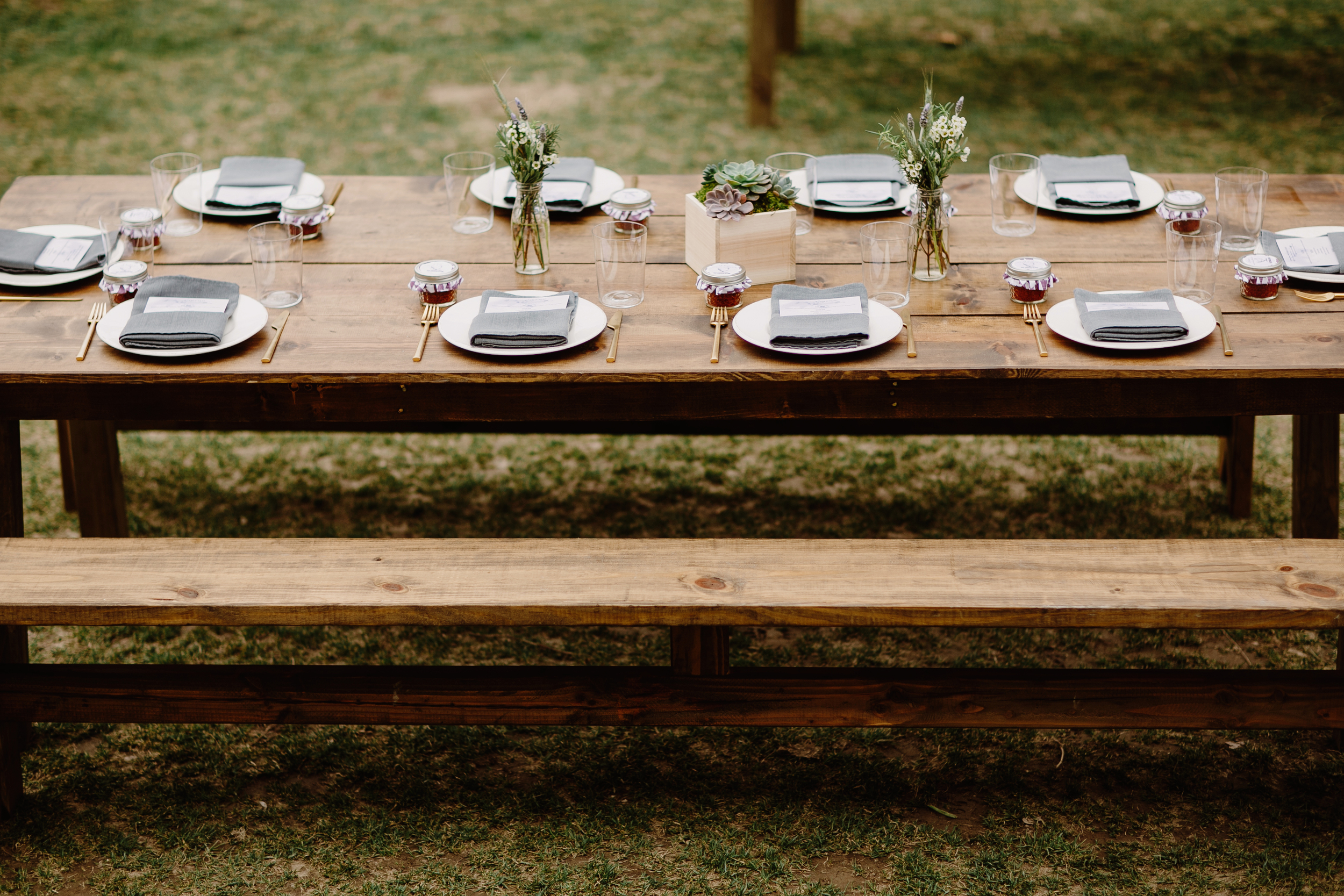 Farm table with herbs and succulents // Nashville Wedding Floral Design
