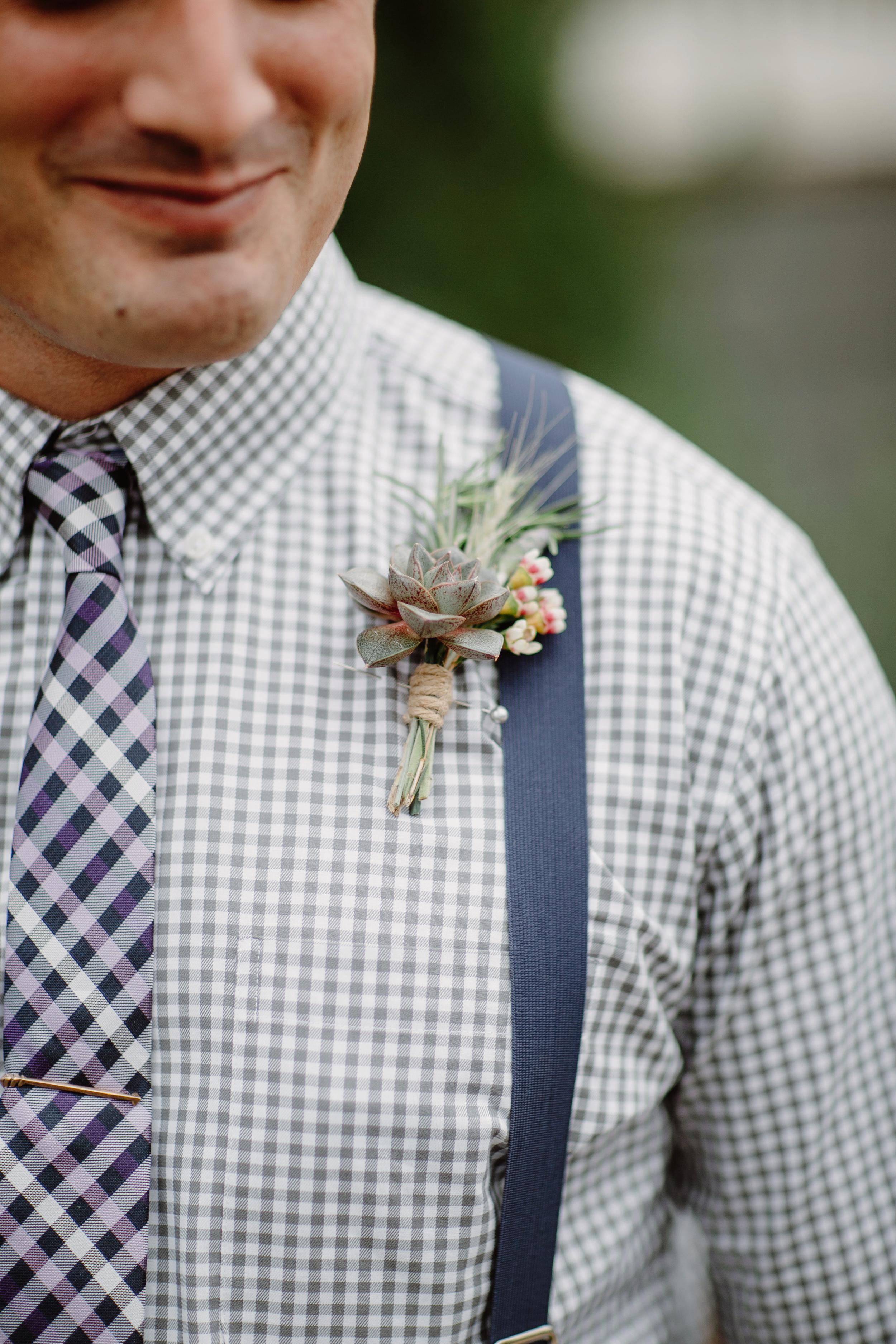 Groomsmen succulent boutonniere // Nashville Wedding Florist