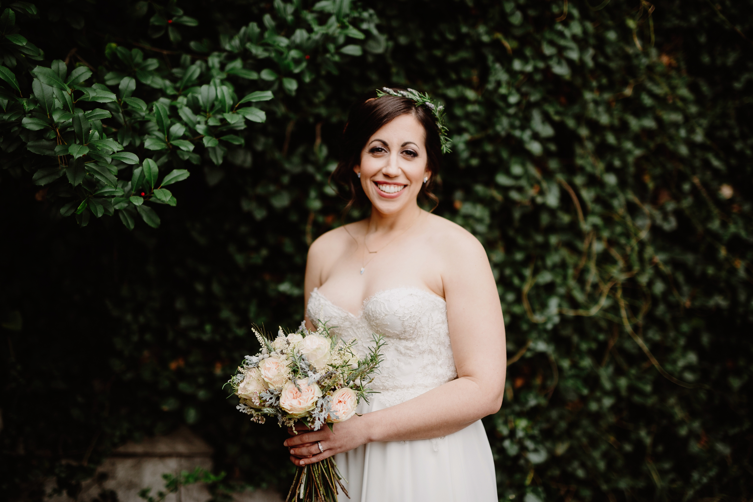 Bridal flowers with herbs and garden roses // Nashville Wedding Florist