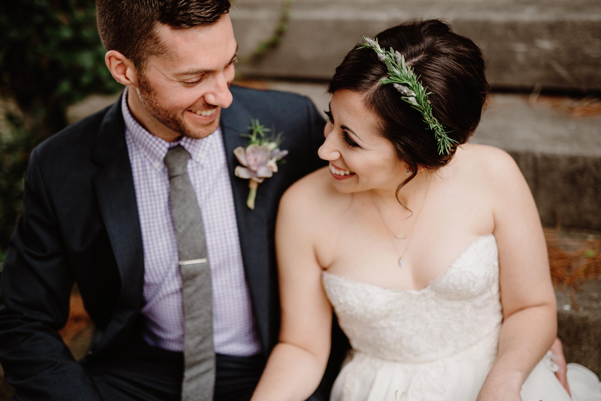 Bride's flower crown of rosemary and lavender // Nashville Wedding Floral Design