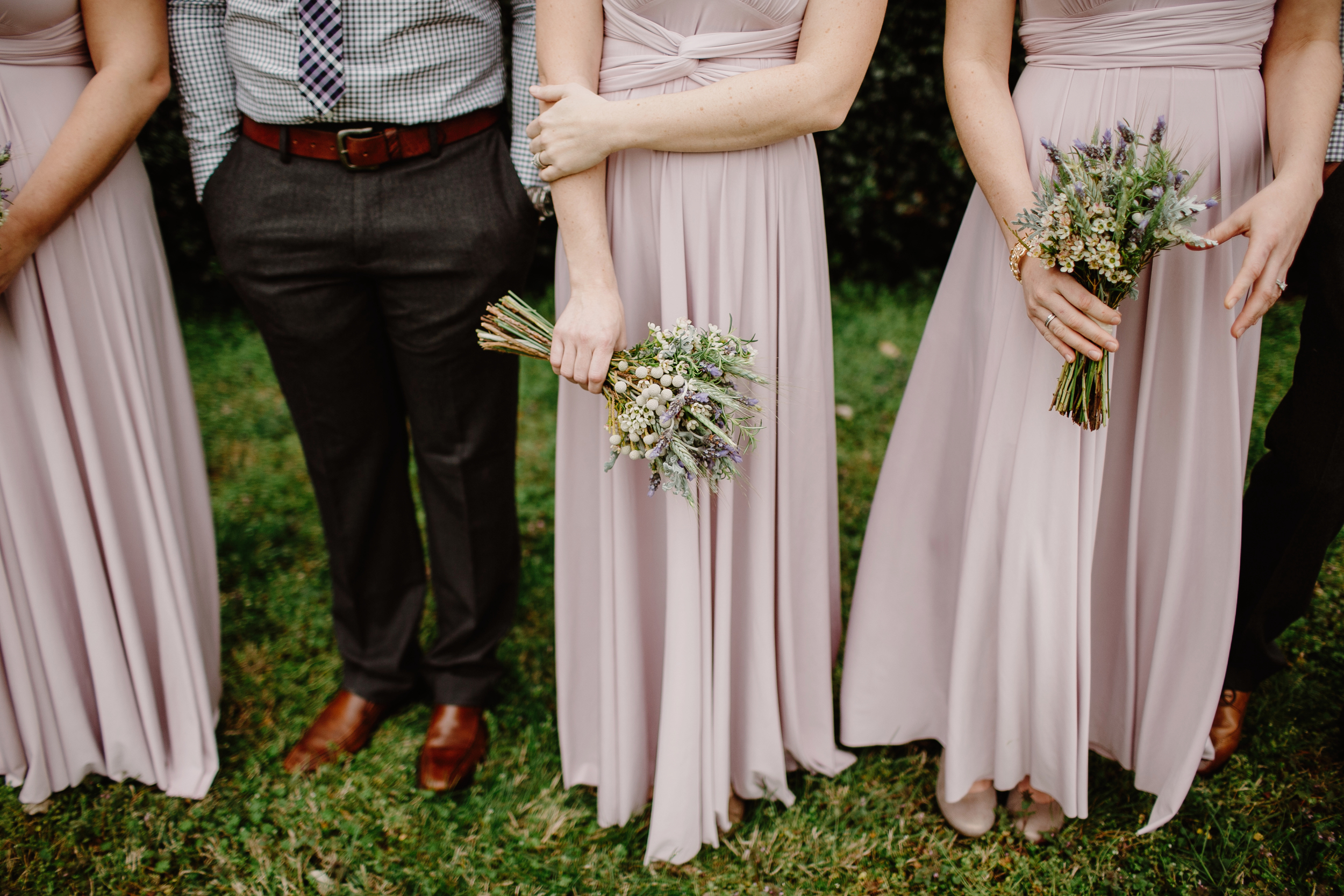 Bridesmaid bouquets of lavender, rosemary, and wheat // Nashville Wedding Floral Design
