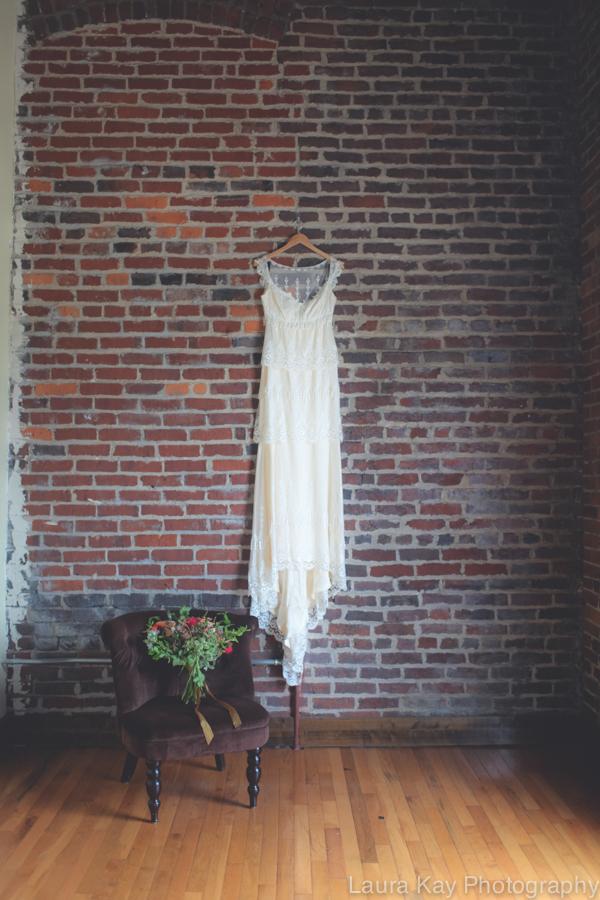 Bridal Bouquet and Wedding Dress // Nashville Wedding Floral Design