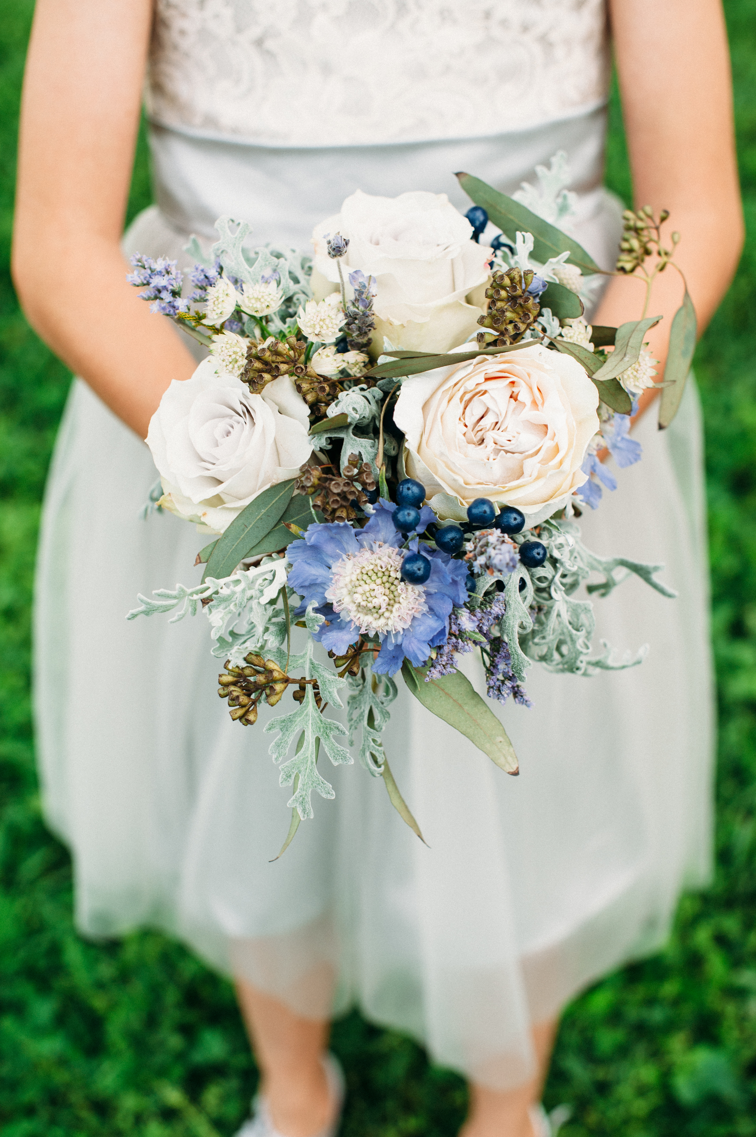 Junior bridesmaid bouquet with soft blues and greys // Nashville Wedding Flowers