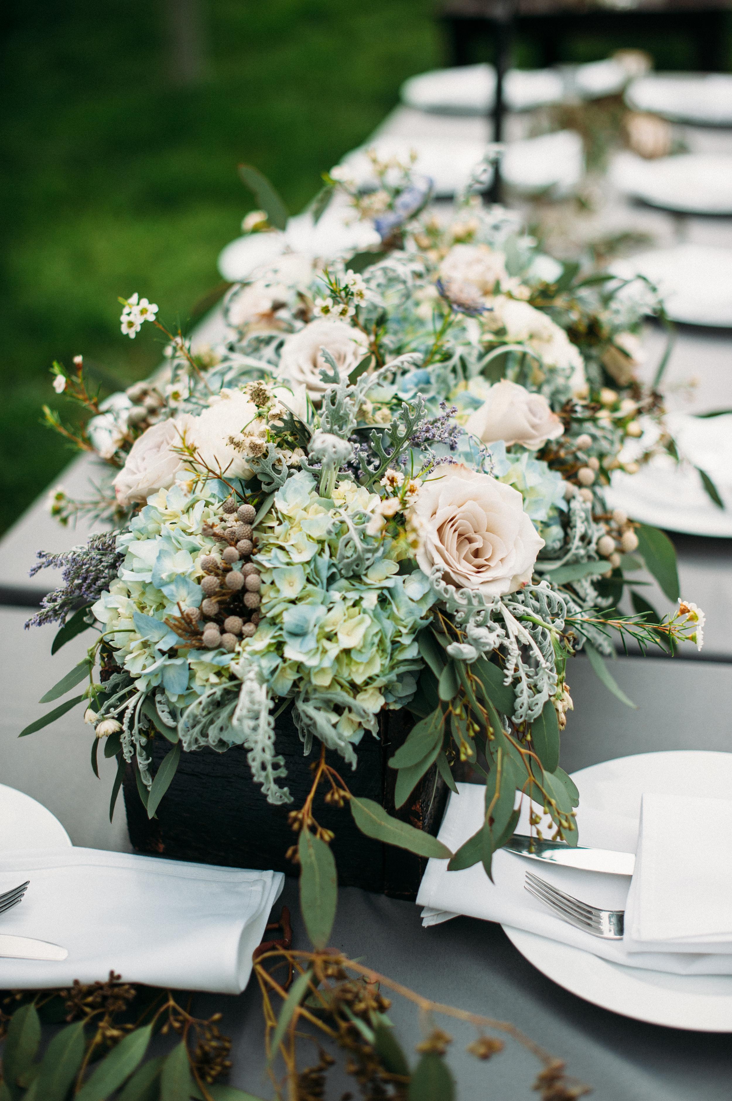 Muted blue and grey floral centerpiece // Nashville Wedding Flowers