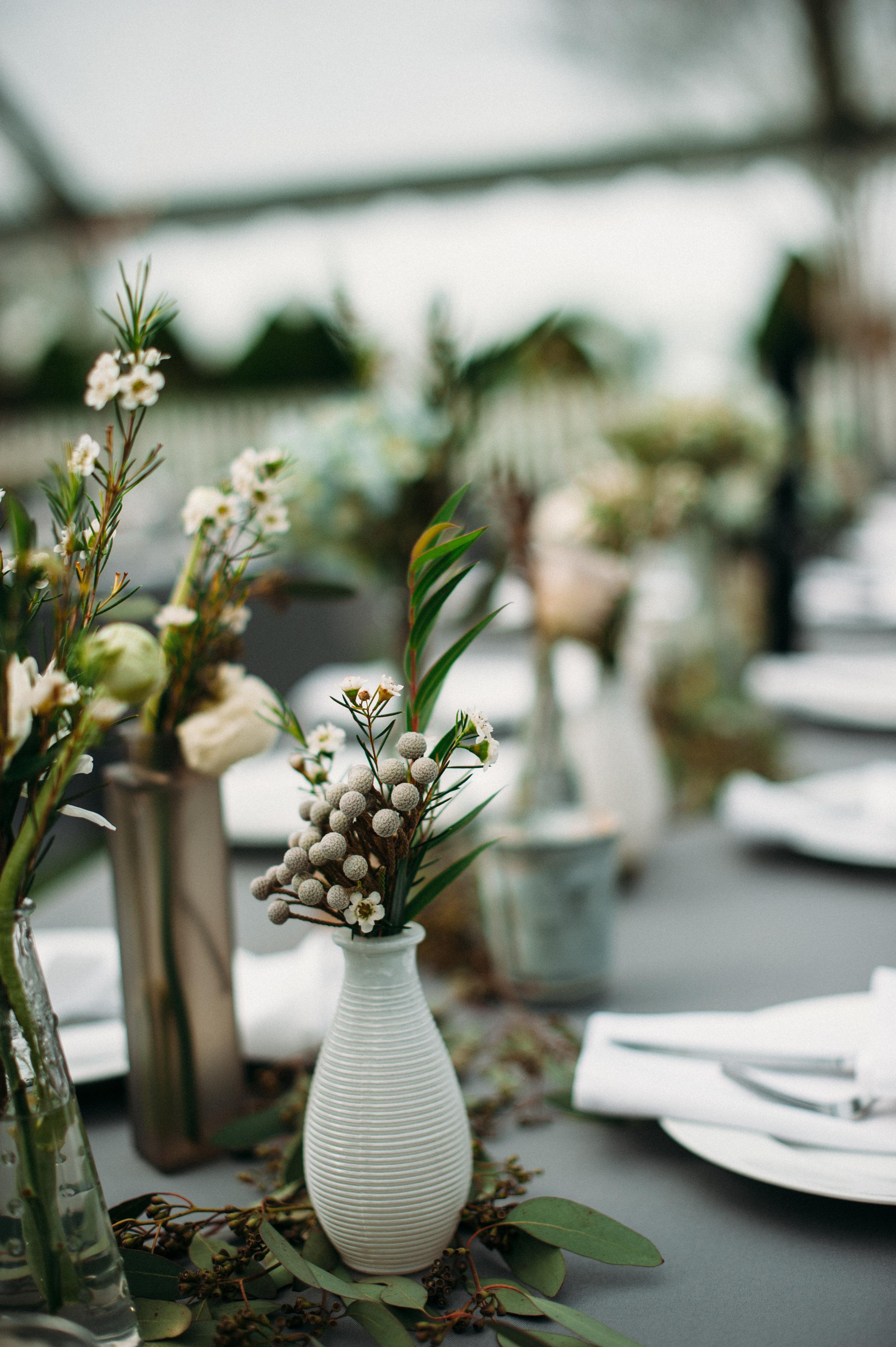 Bud Vases and greenery garland // Franklin, TN Wedding Florist