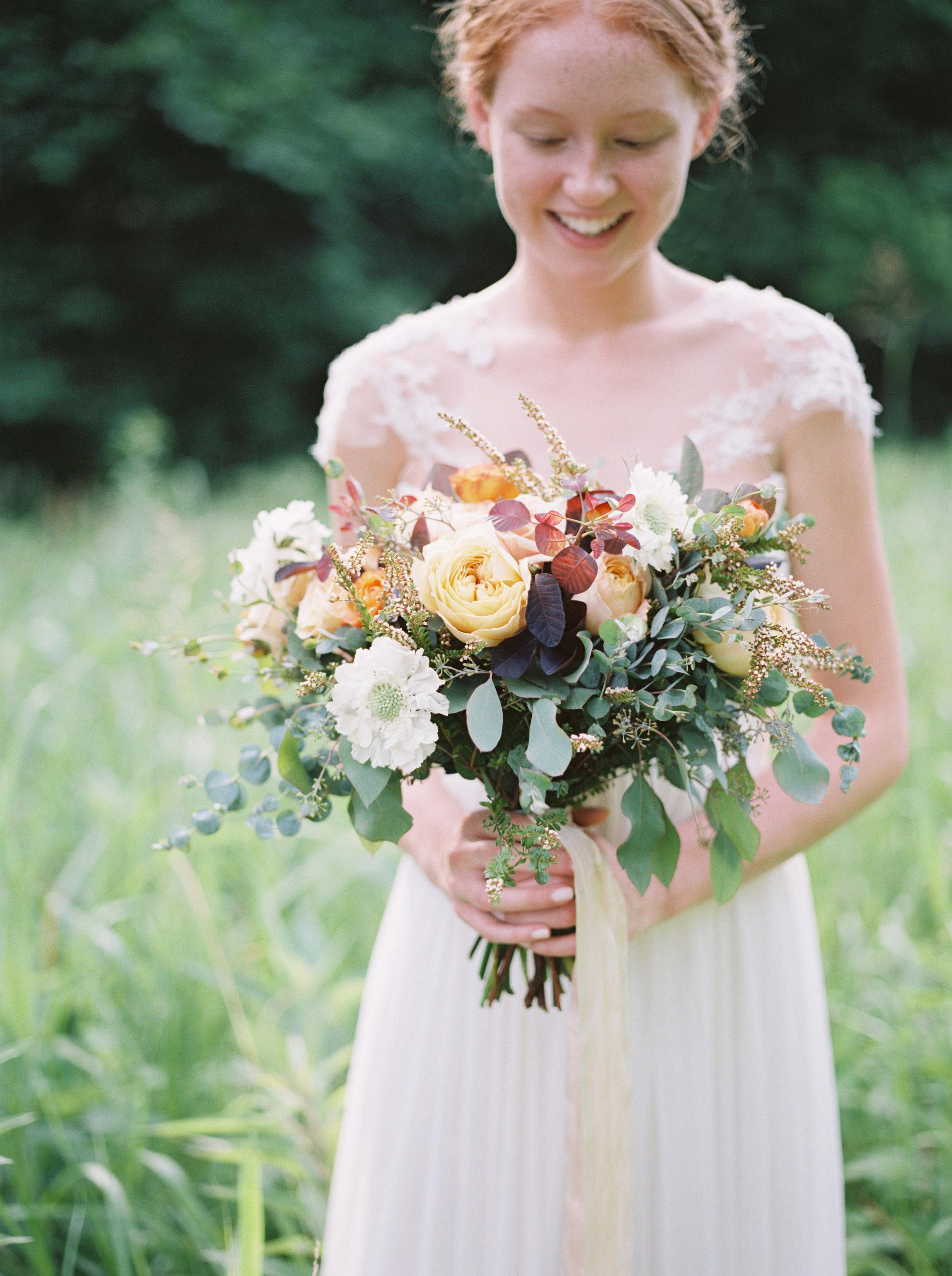 Soft gold and lush greenery bridal bouquet // Nashville Wedding Florist