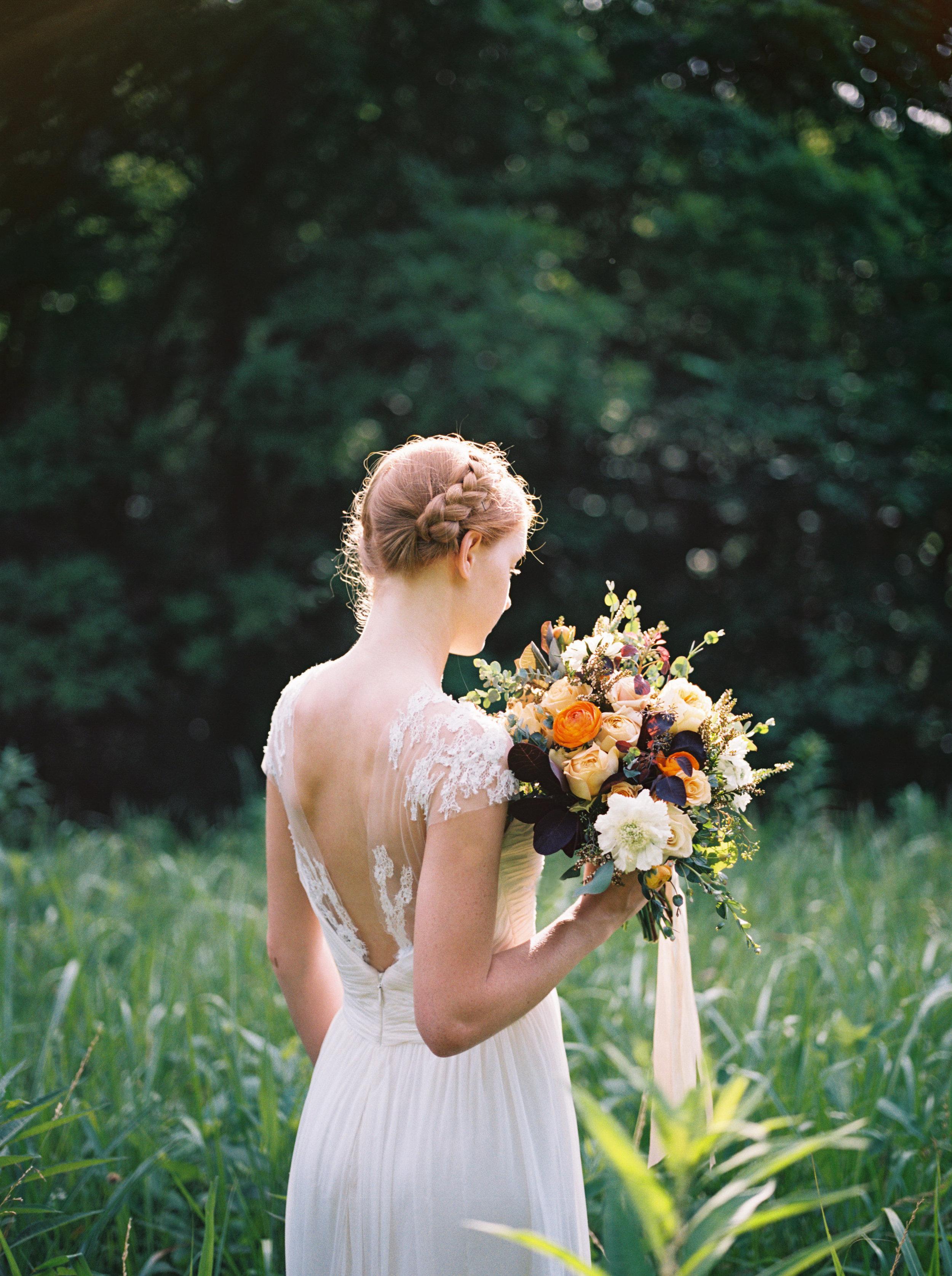 Golden orange bridal portraits // Nashville Event Florist