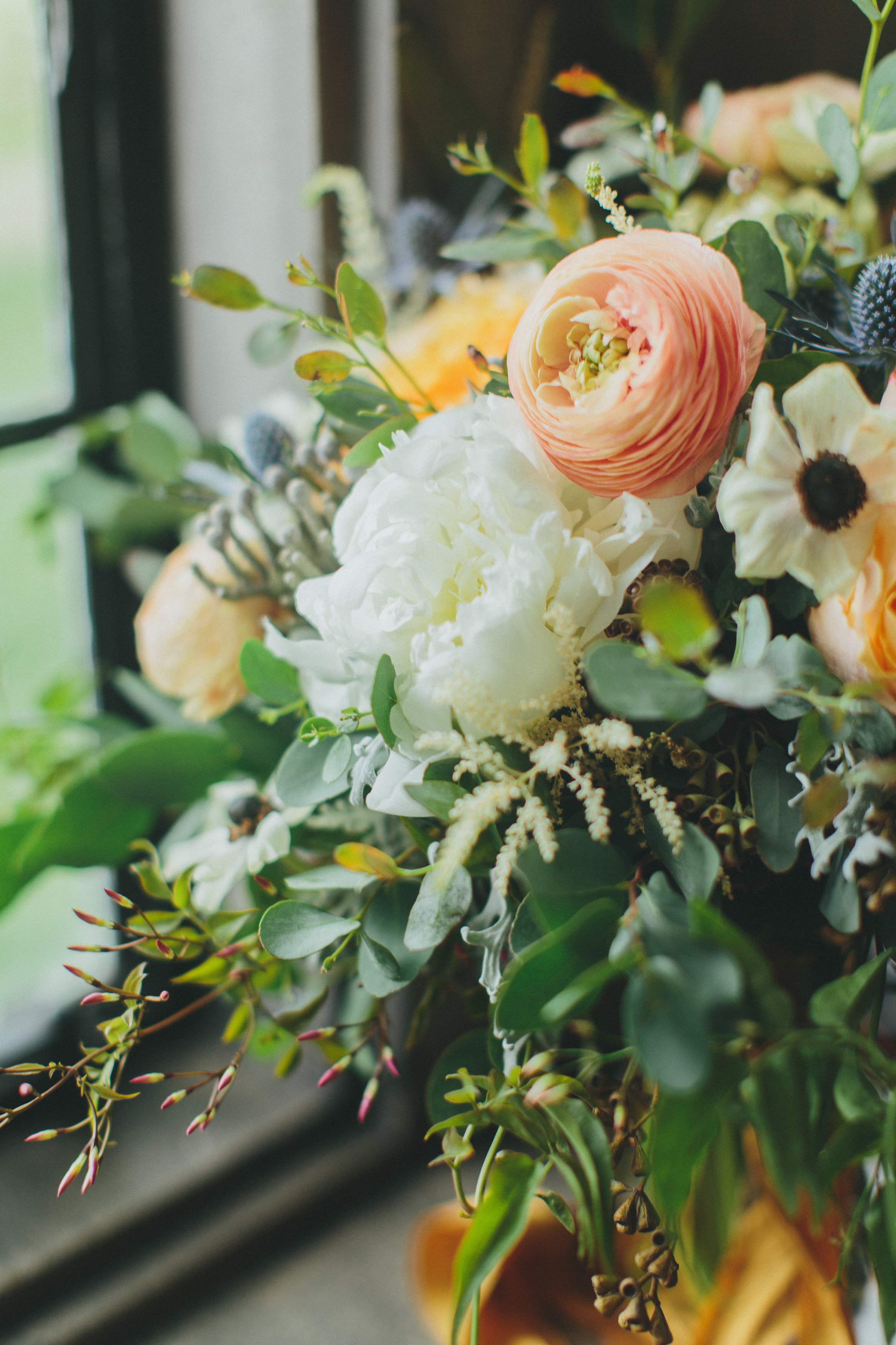 Bridal Bouquet with ranunculus, peonies, and garden roses // Loose, organic bouquet // Nashville Wedding Flowers
