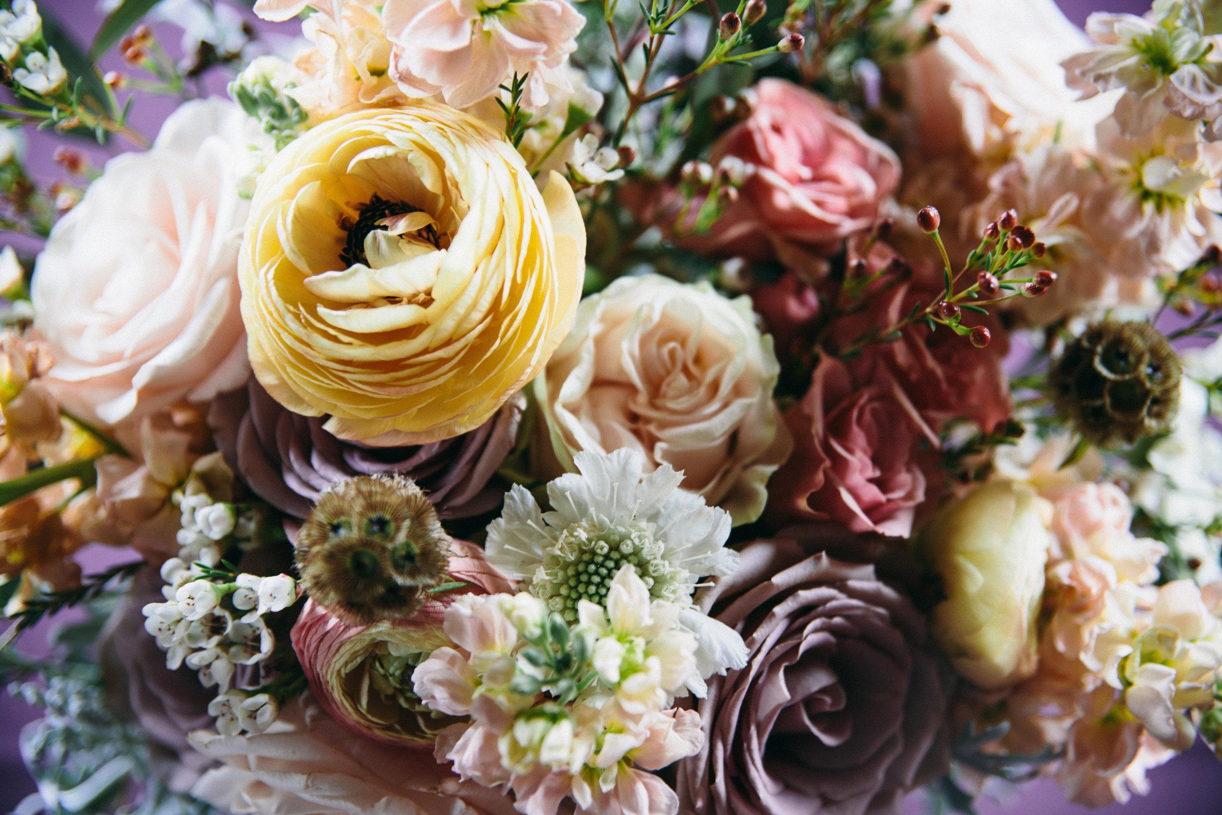 Mauve and coral wedding flowers // Nashville Floral Design