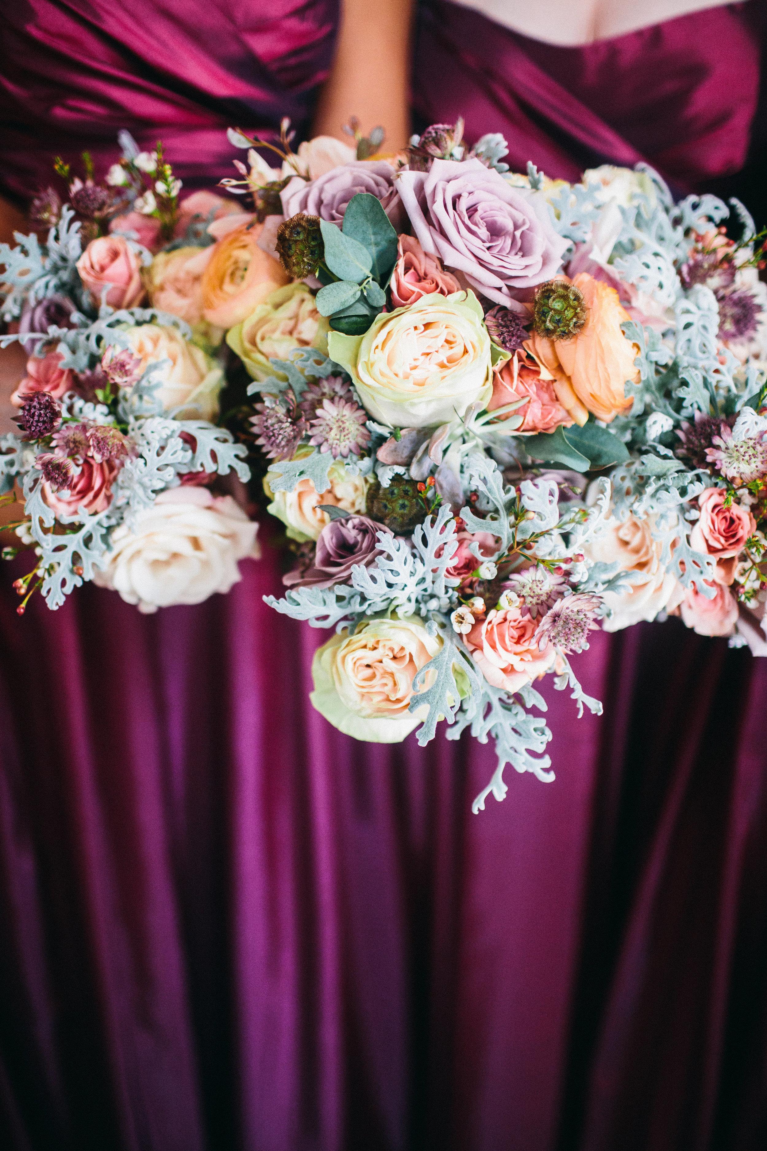 Mauve, coral, and sangria flowers // Nashville Floral Design