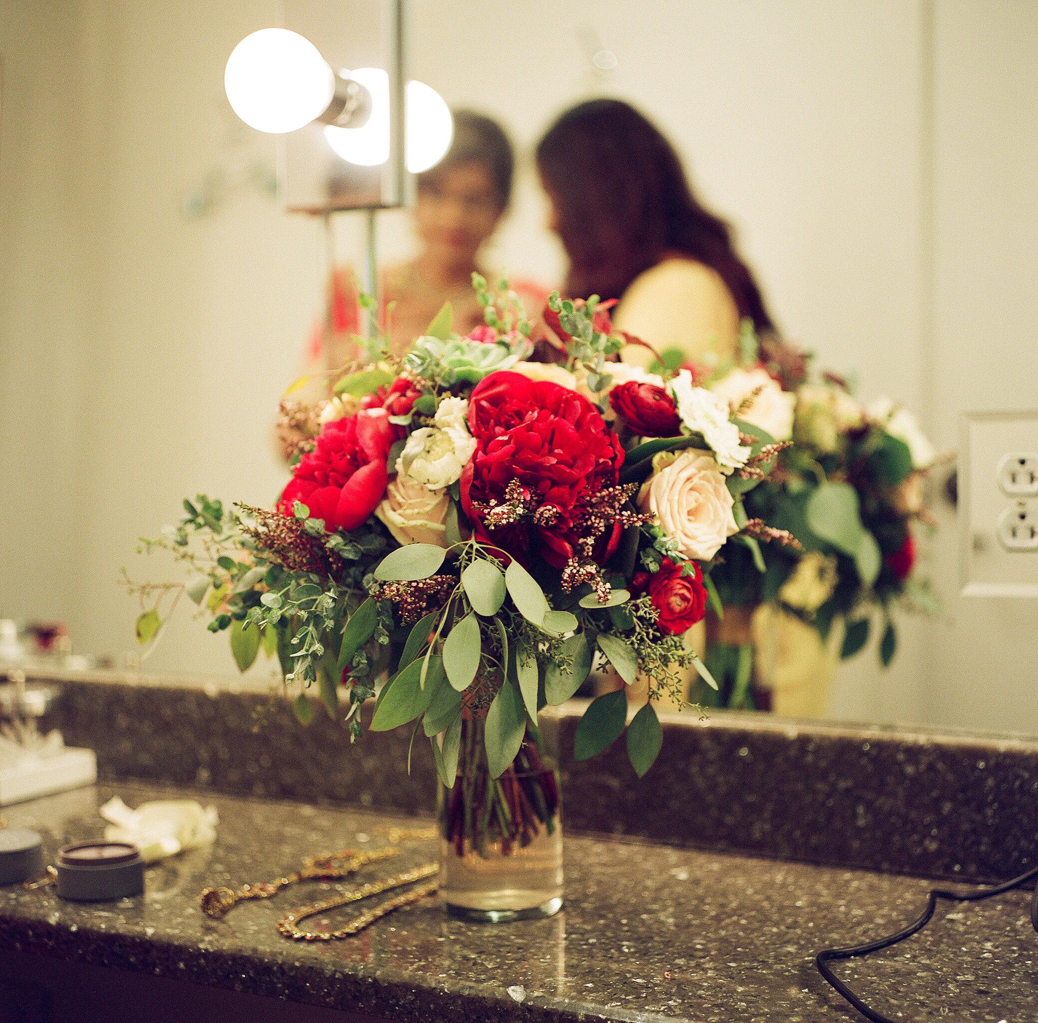 Deep red peony bridal bouquet // Nashville Wedding Florist