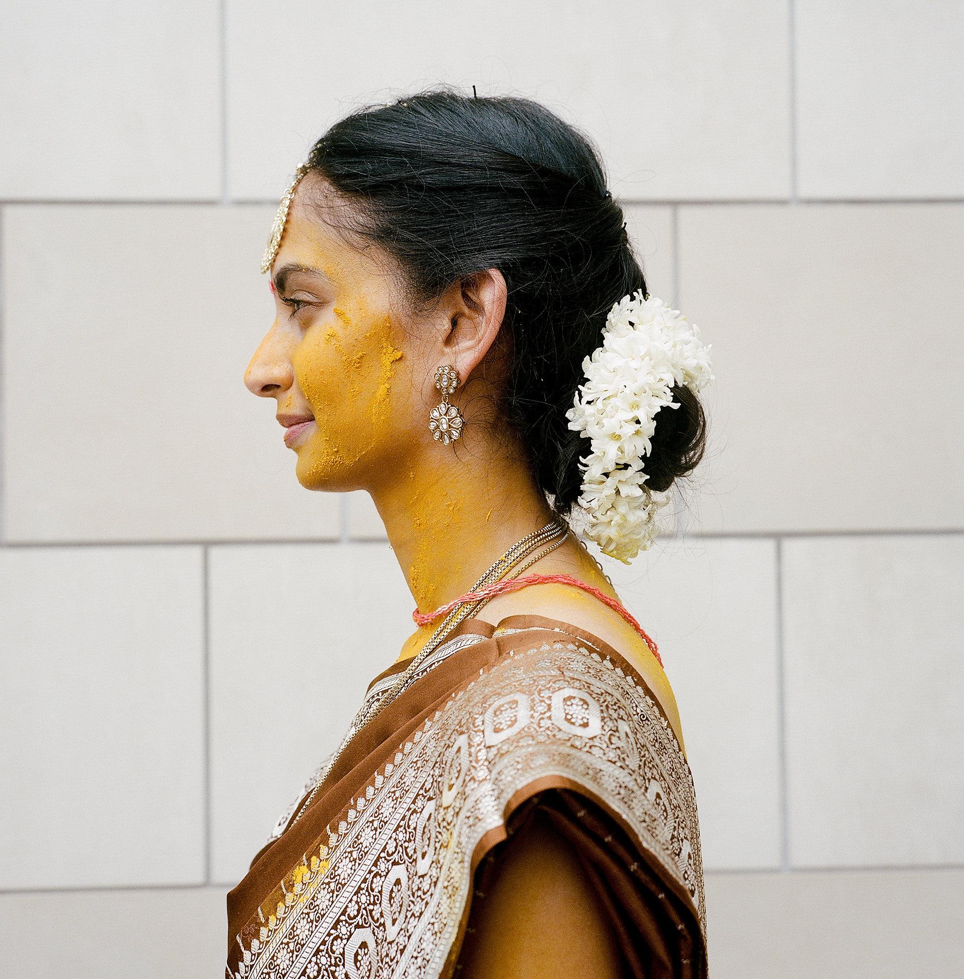 White hyacinth hair garland // Indian Wedding Ceremony in Nashville, TN