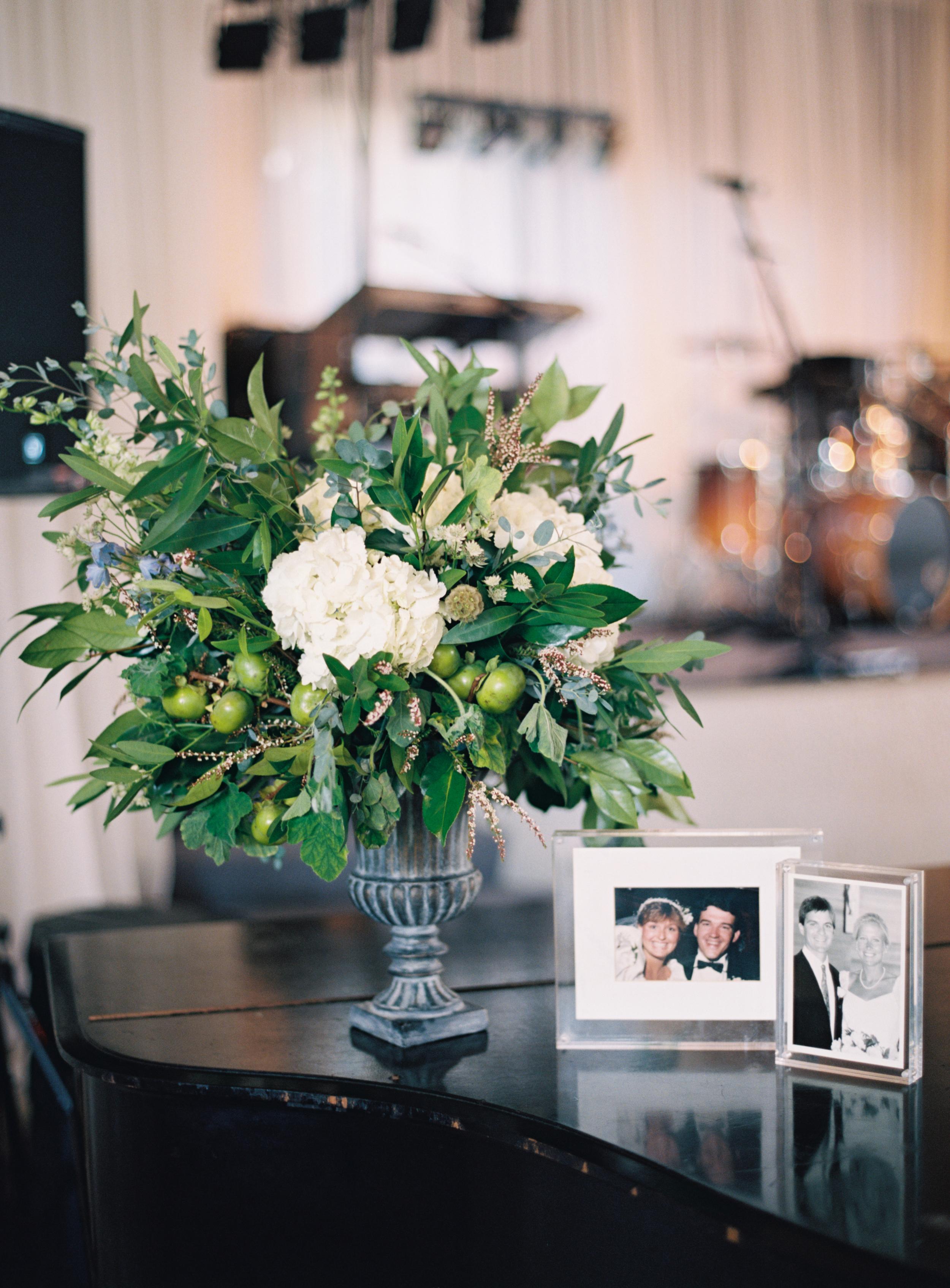 Statement floral arrangement with persimmons and hydrangeas // Belle Meade Wedding Florist