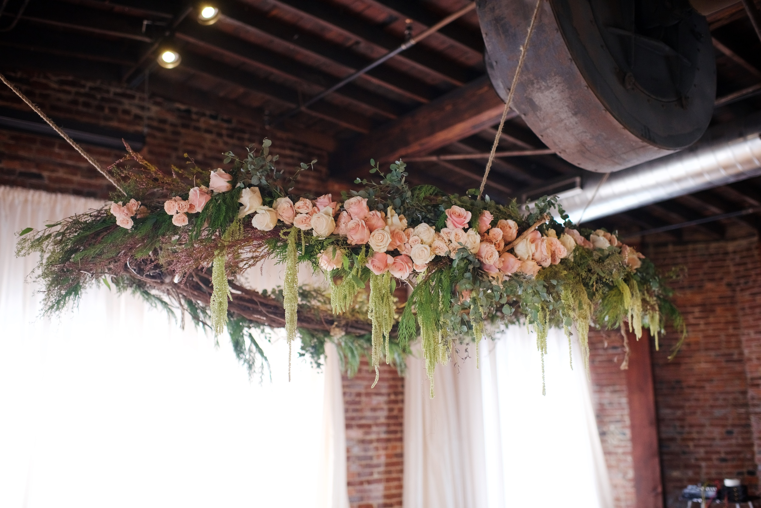 Suspended Wreath for Wedding at Cannery One