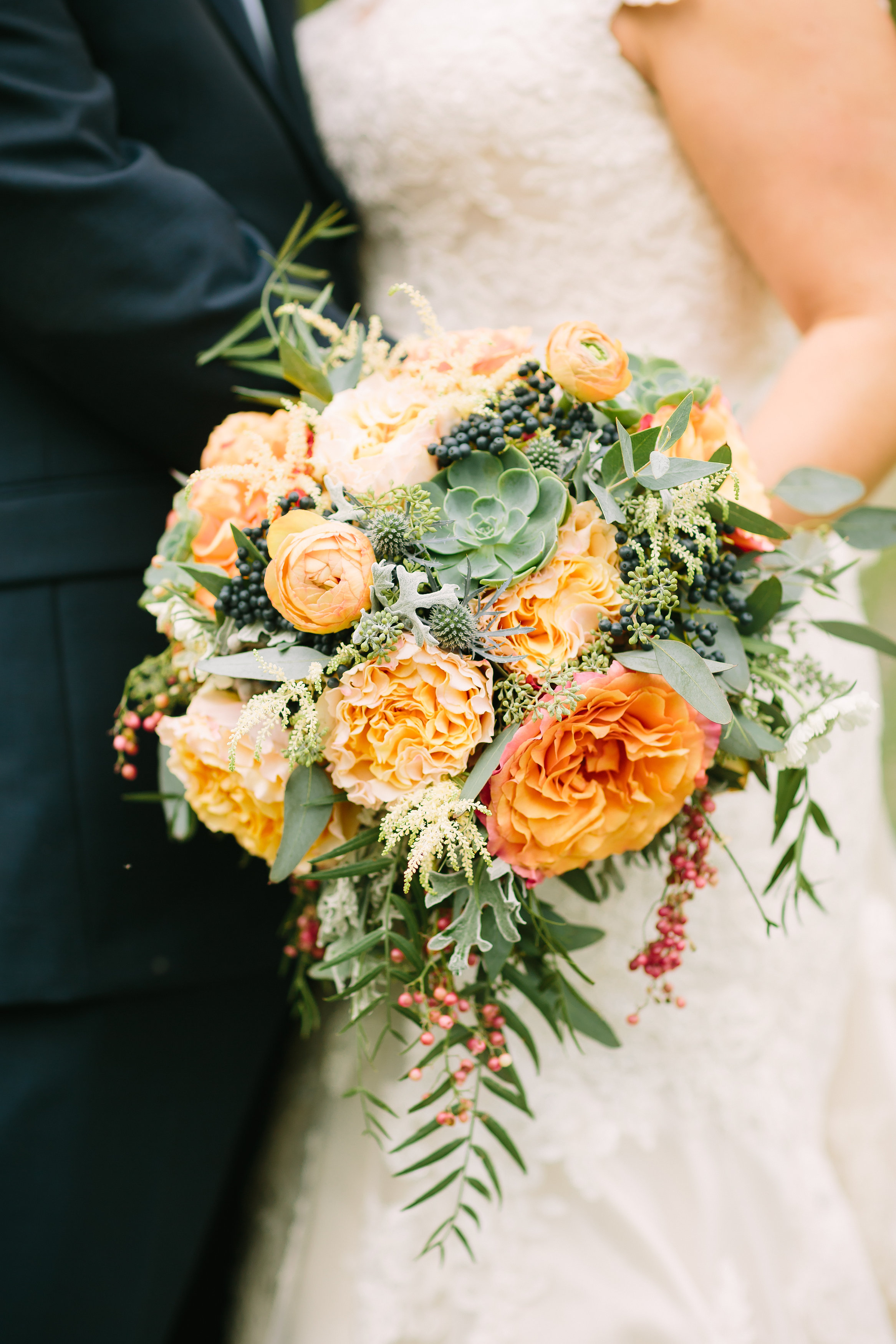 Coral and Navy Bridal Bouquet // Nashville Fall Wedding Florist