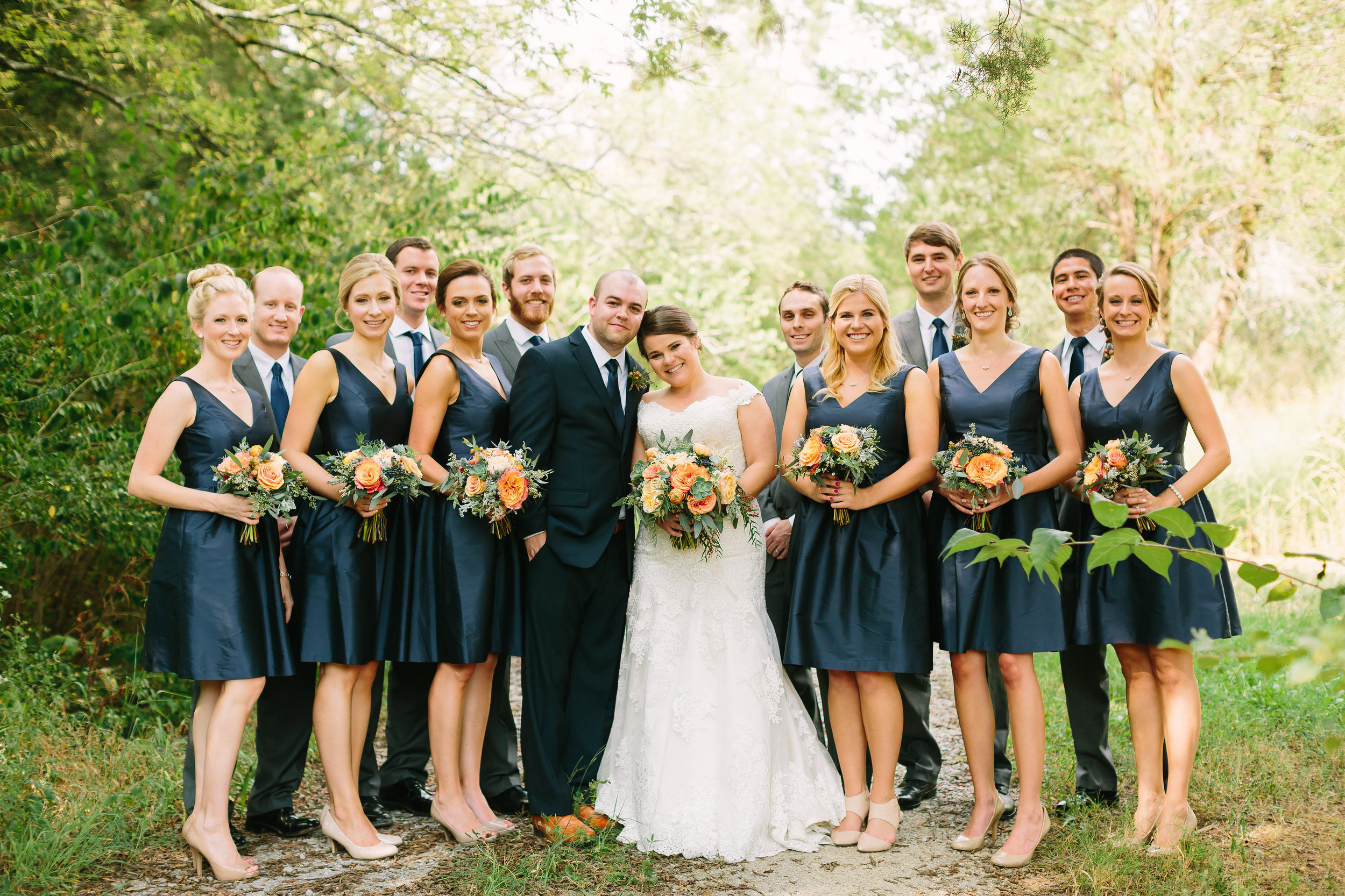 Navy and Coral Bridal Party // Nashville Wedding Floral Design