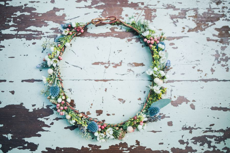 Bride's Flower Crown with wildflowers and greenery