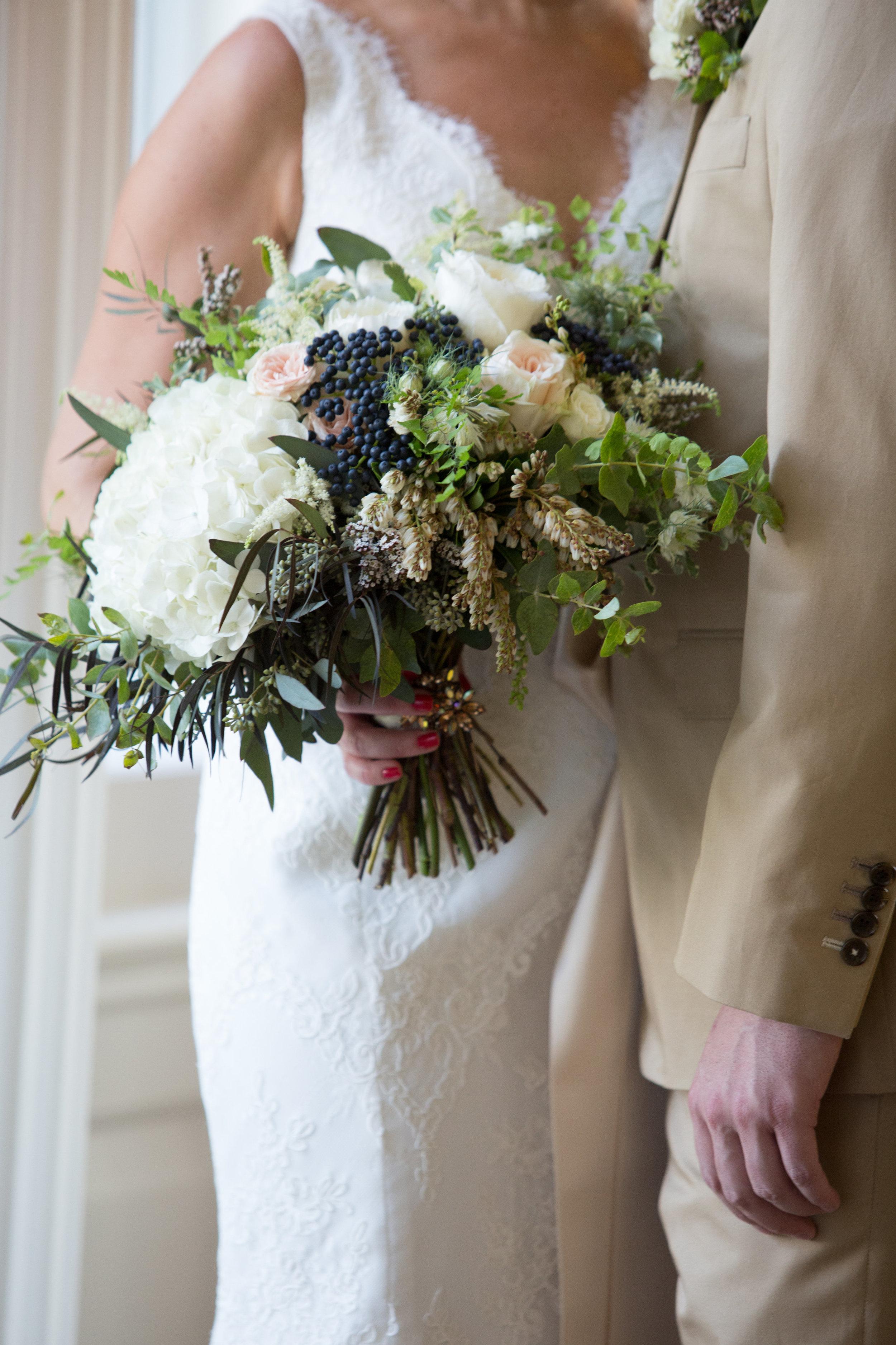 Hydrangea, viburnum, and pieris wedding bouquet // Nashville Flowers