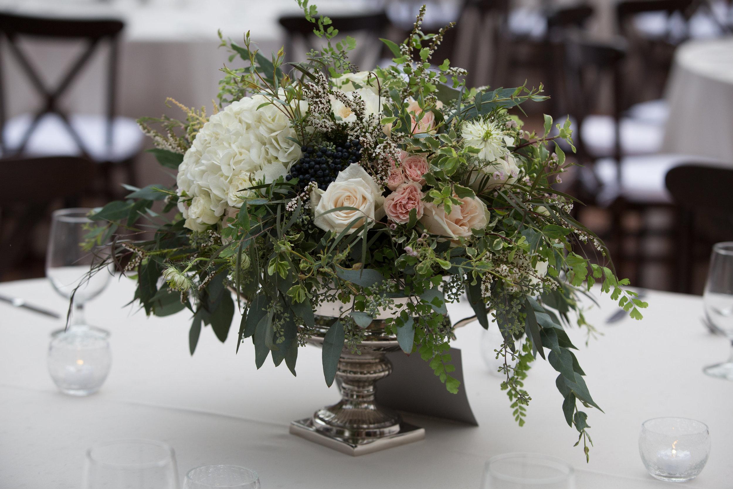 Loose, organic floral arrangement in silver urn // Nashville Florist