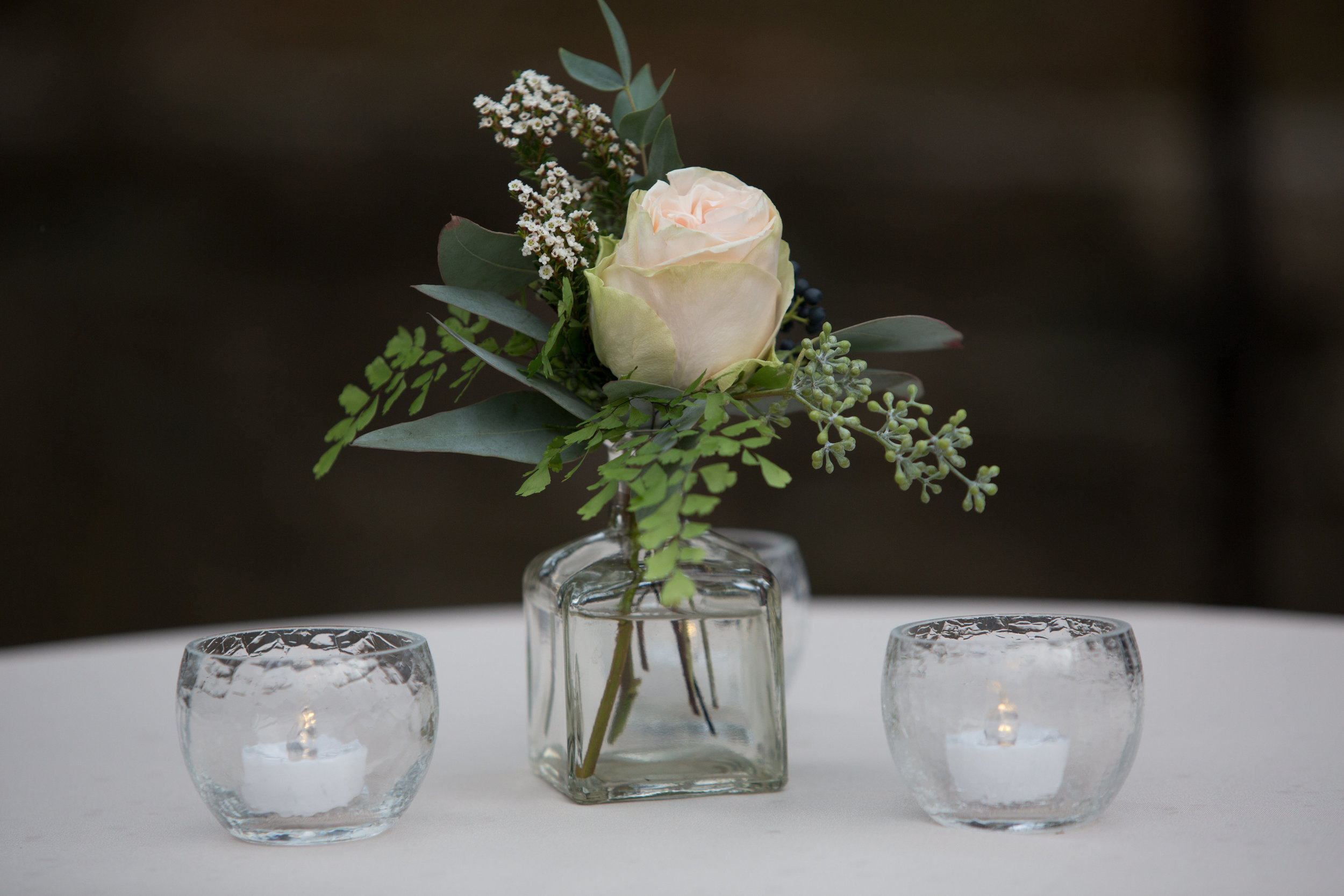 Maidenhair fern and garden rose bud vase // Nashville Florist
