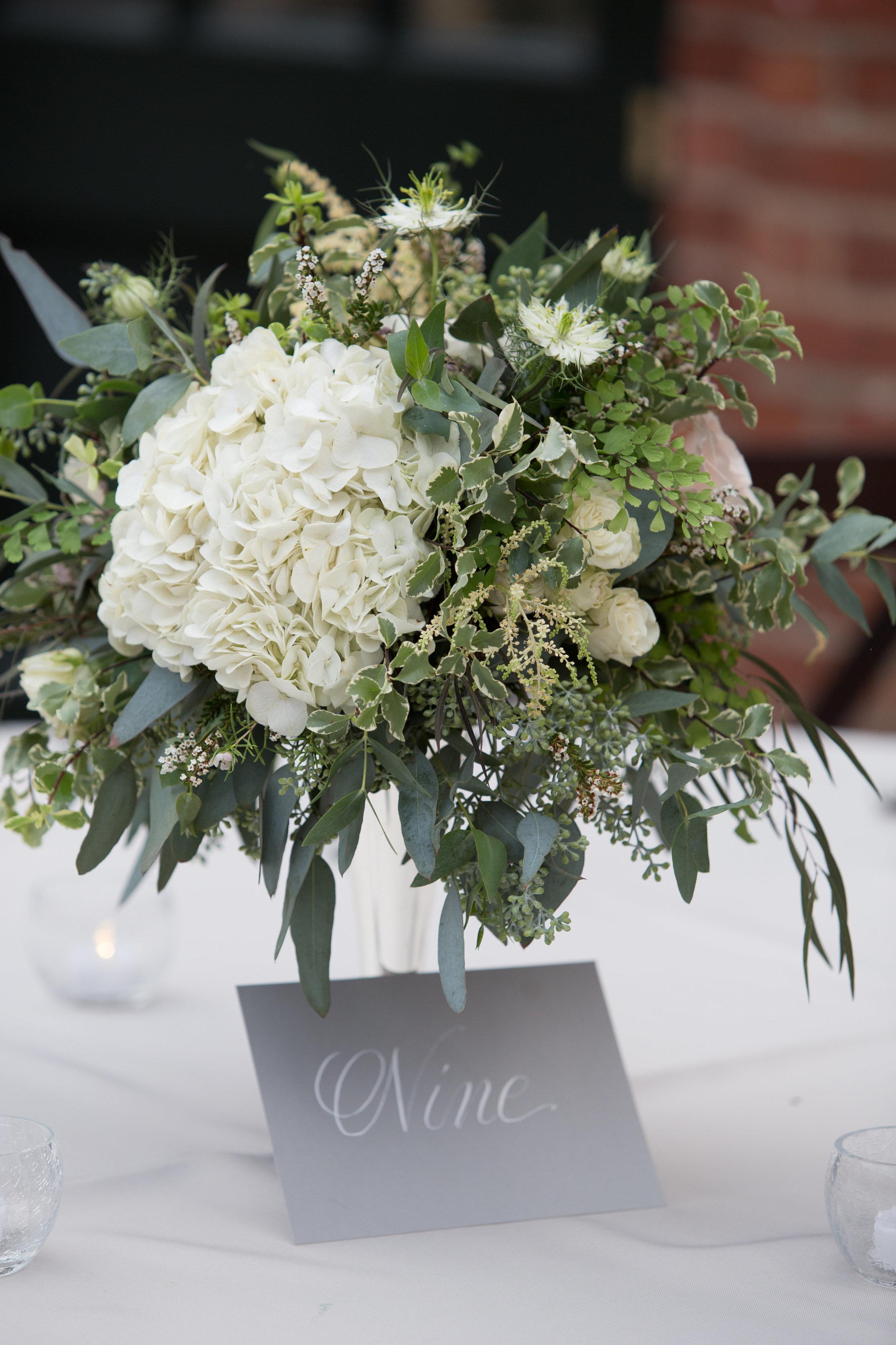 Hydrangea, garden roses, and organic greenery centerpiece