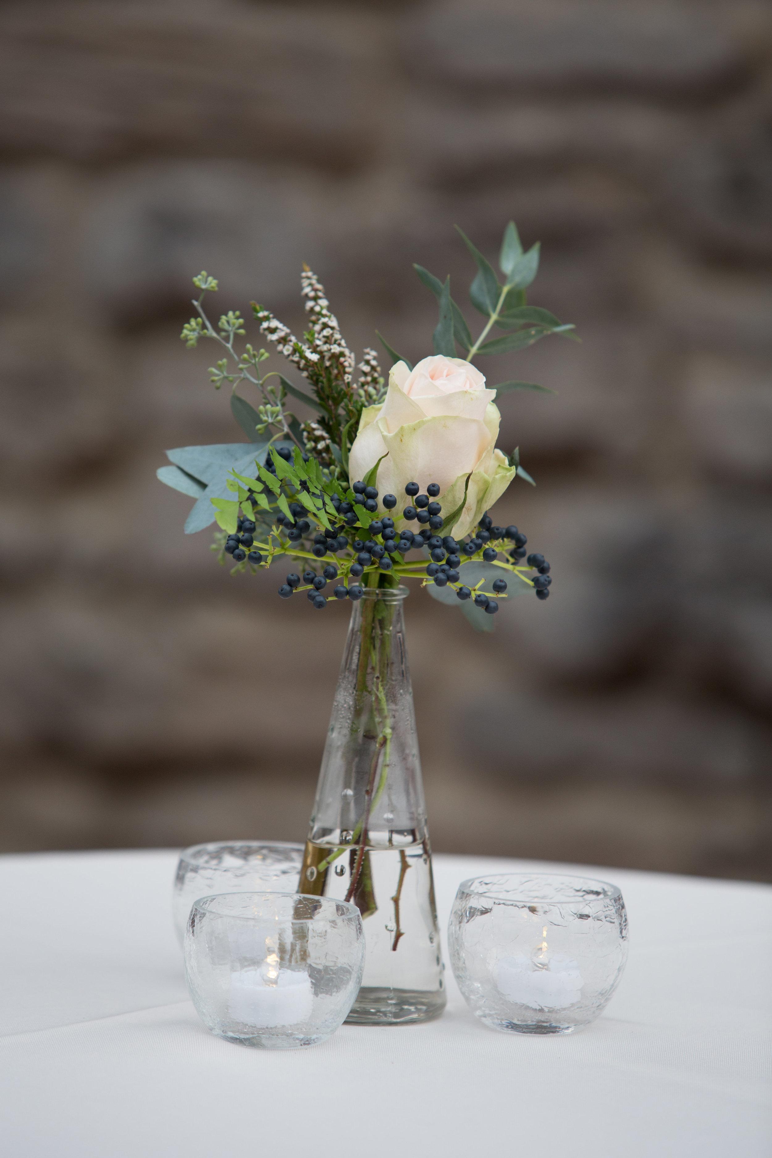 Viburnum berries and garden rose bud vase // Nashville Florist