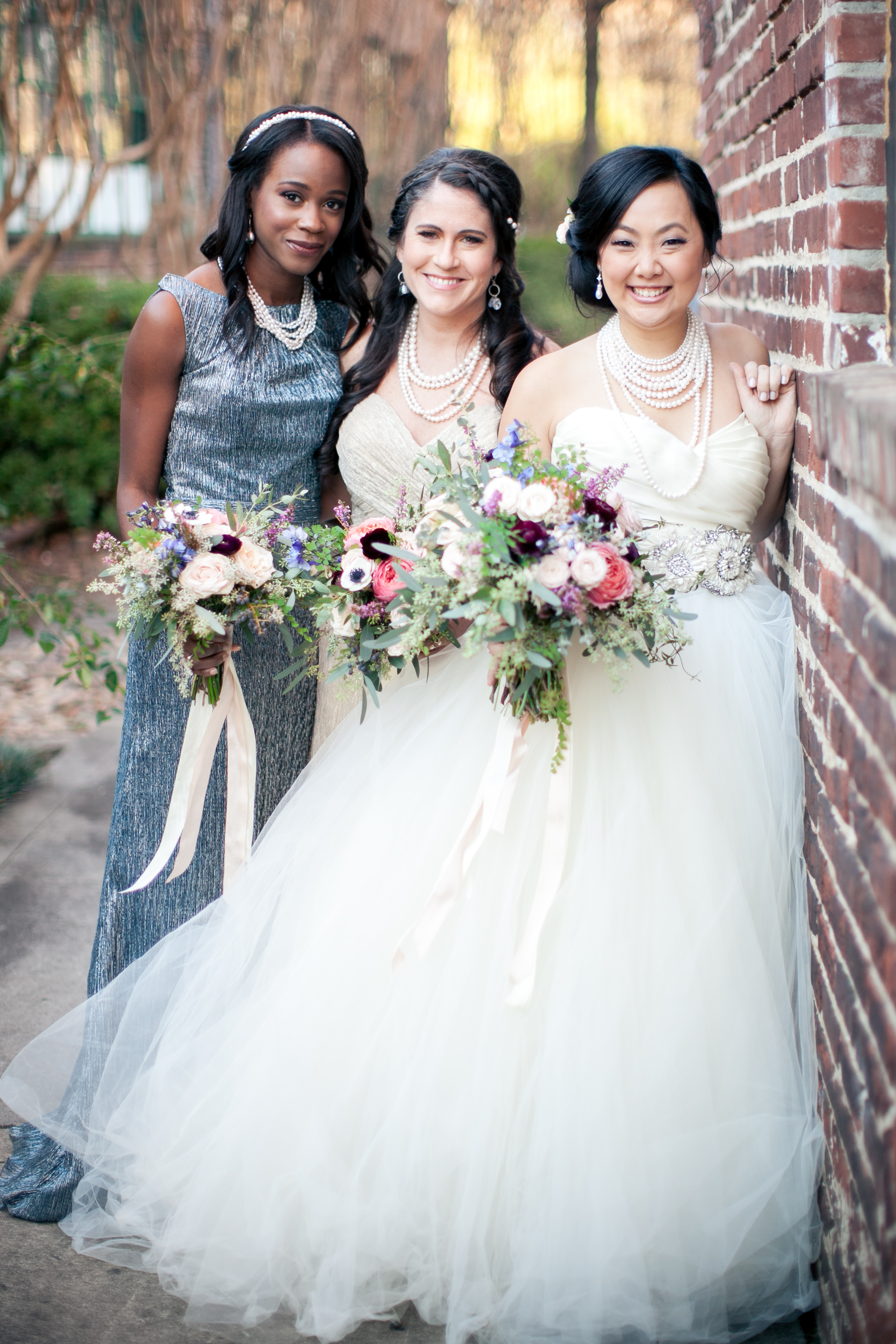 Bridal Party with organic bouquet including anemones and garden roses // Southeast Floral Design