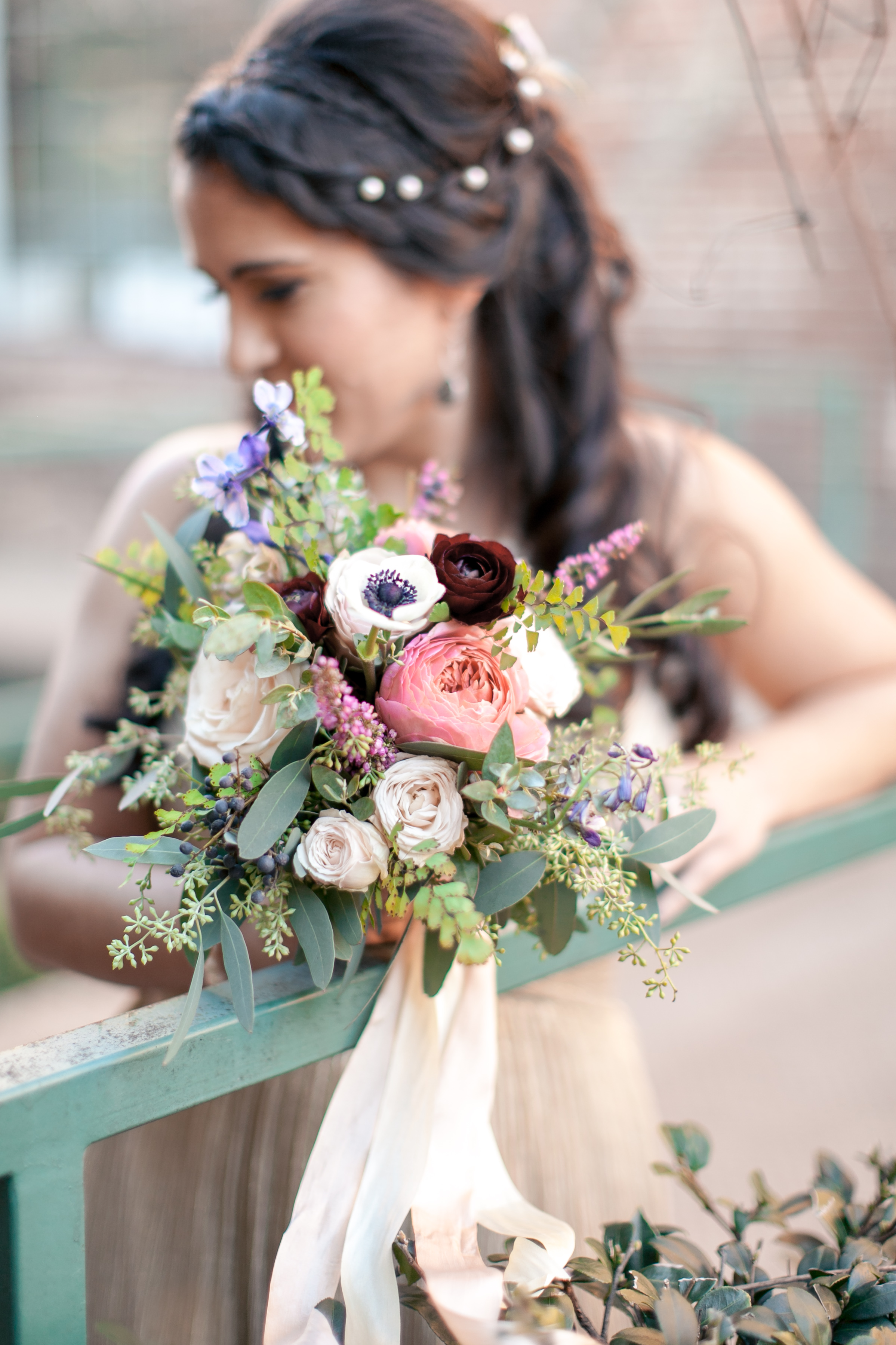 Bridesmaid bouquet with anemones, ranunculus, and silk ribbon // Nashville to Atlanta Floral Design