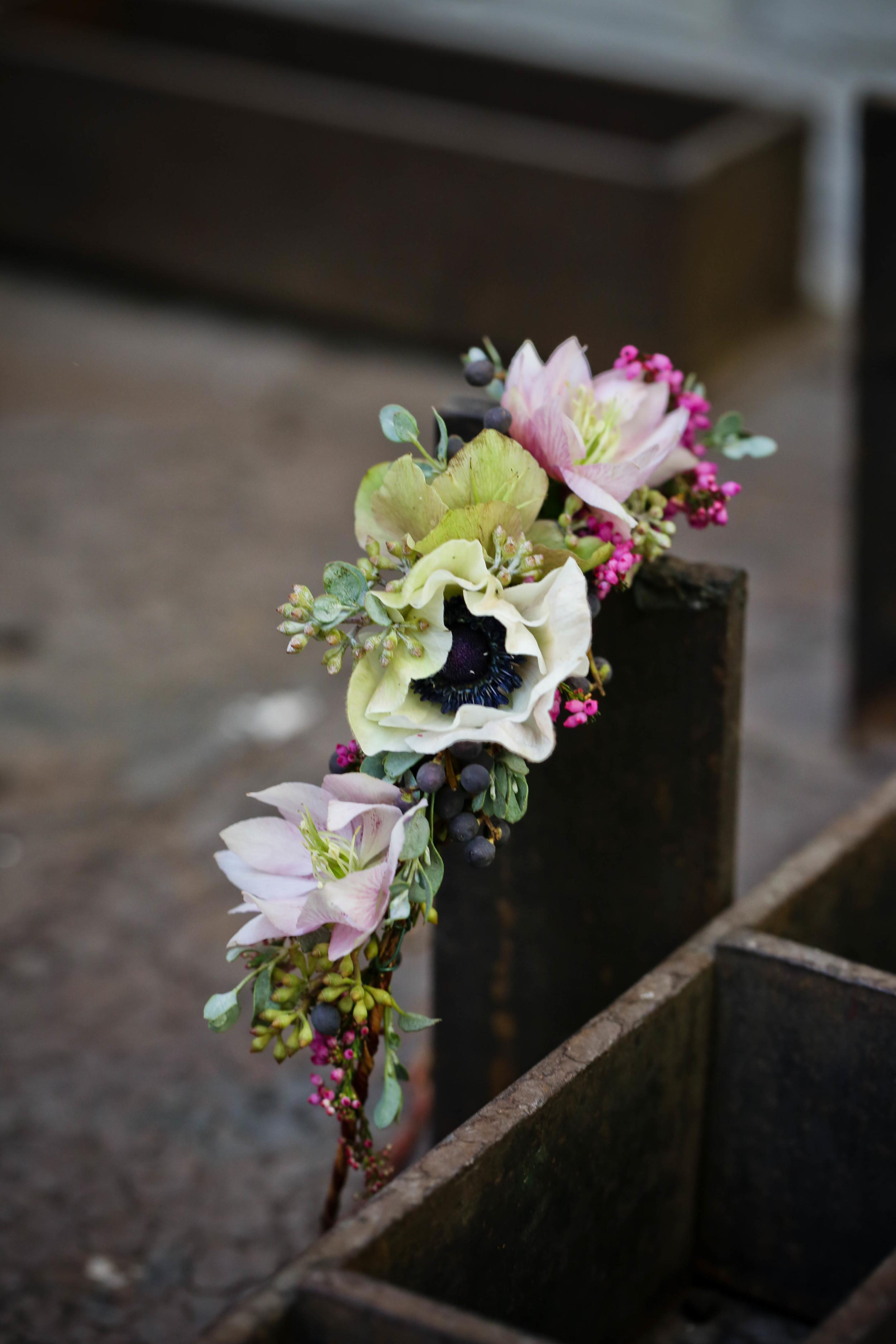 Flower Crown with Anemones and Hellebores // Atlanta Wedding Floral Design