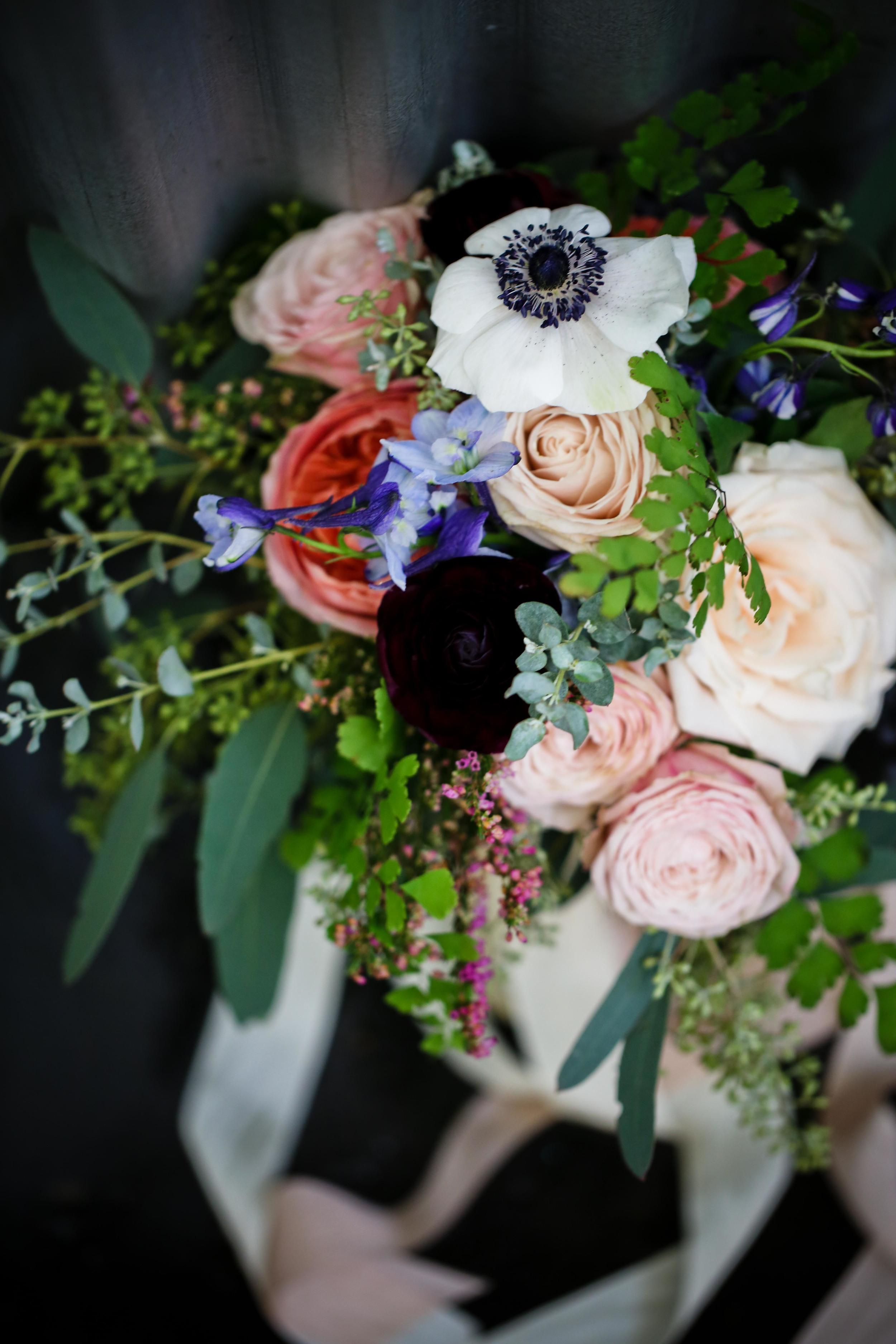 Anemones, garden roses, and ranunculus // Nashville Wedding Flowers