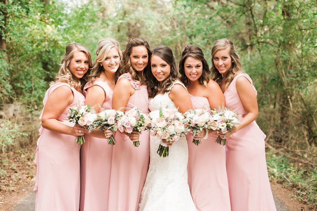 Soft pink bridesmaids bouquet with greenery and texture // Nashville Wedding Florist
