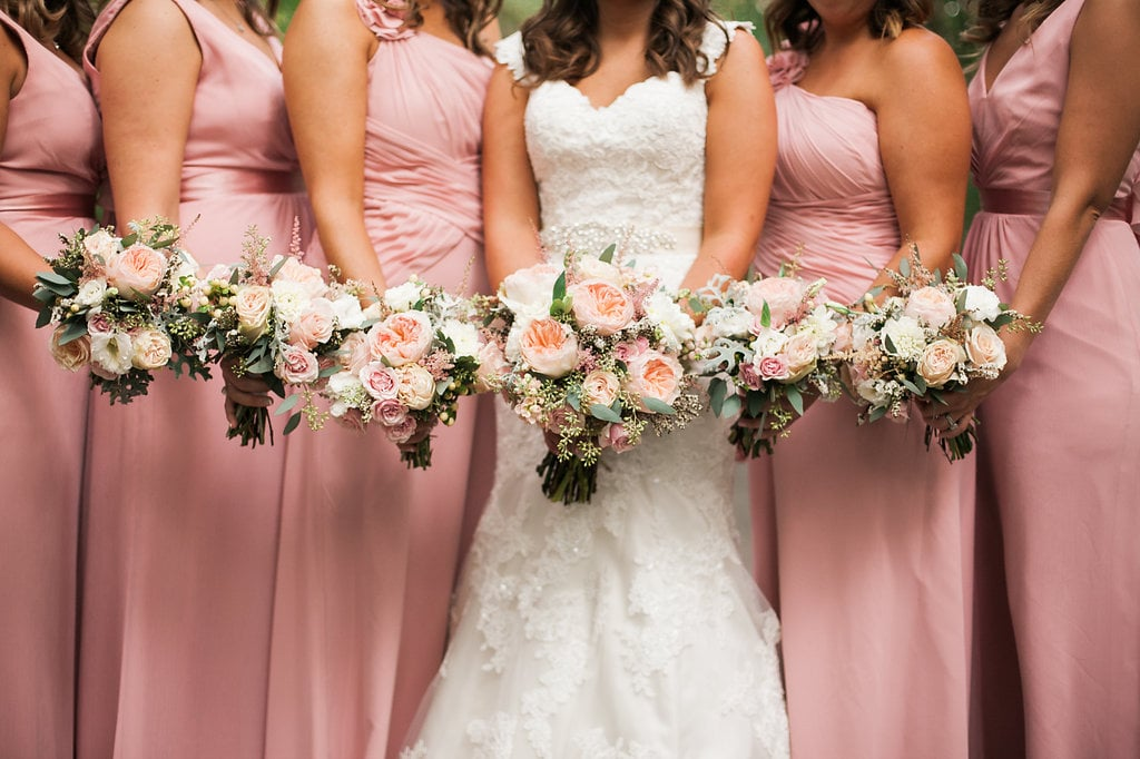 Peach and pink bridal bouquet with garden roses // Southeast Wedding Floral Design