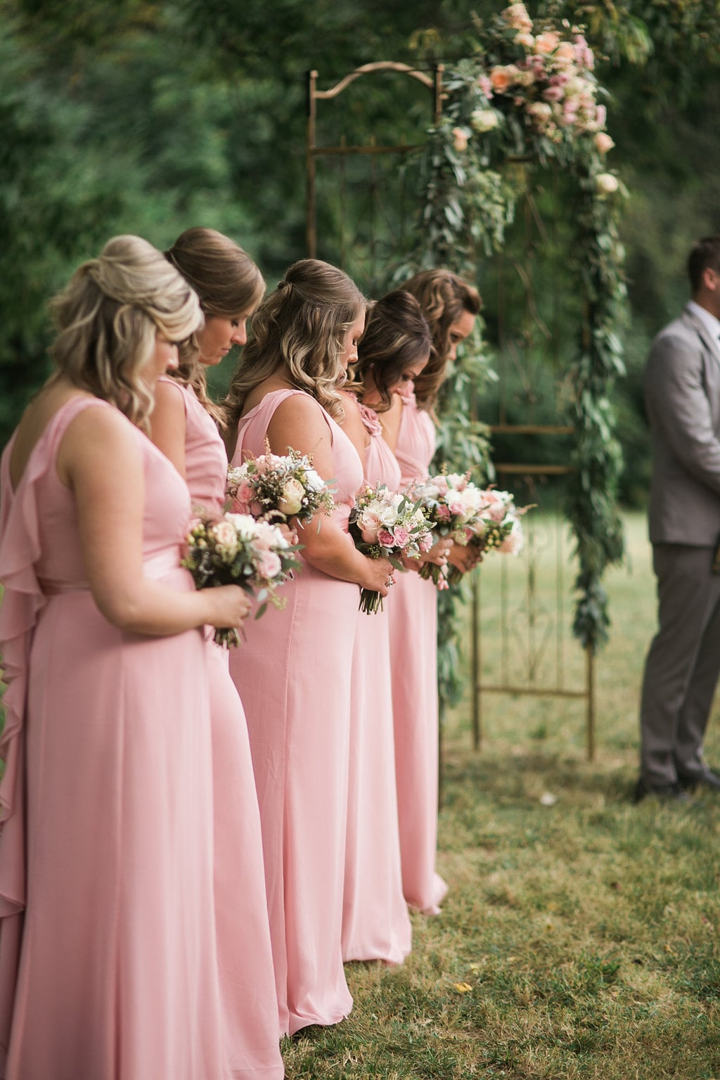 Rustic Wedding Ceremony with light pink and peach color scheme // Nashville Wedding Flowers