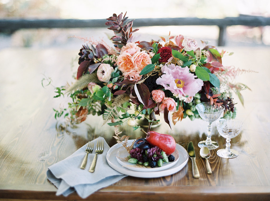 Organic Floral Centerpiece with garden roses and tree peonies