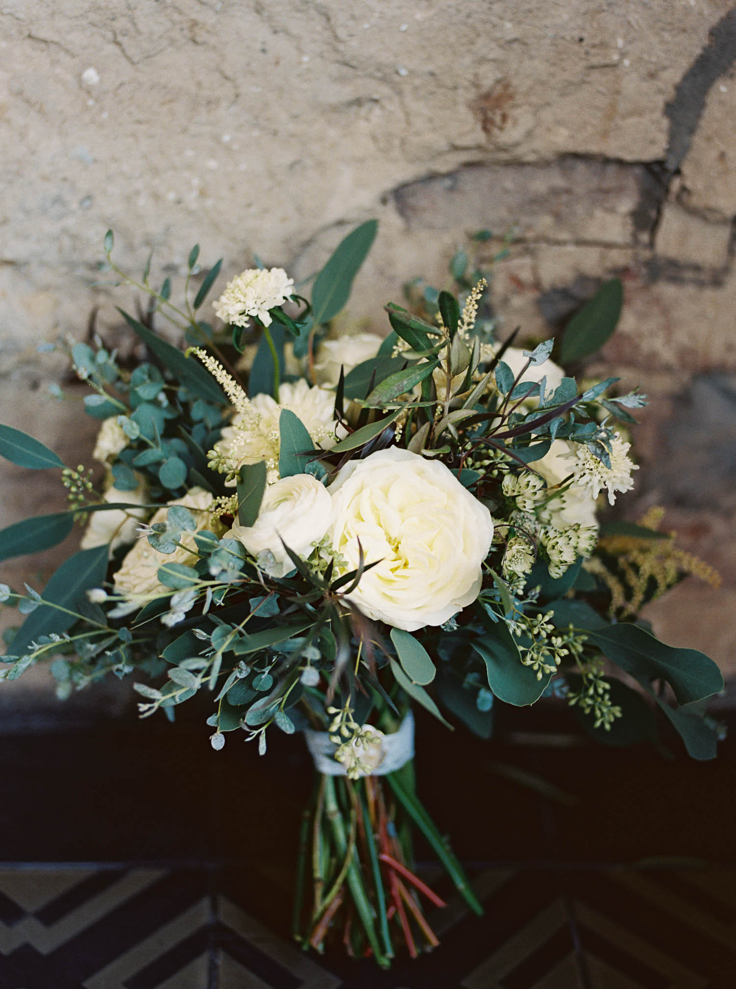 Loose, organic bouquet with lots of greenery and all white flowers // Nashville Wedding Florist